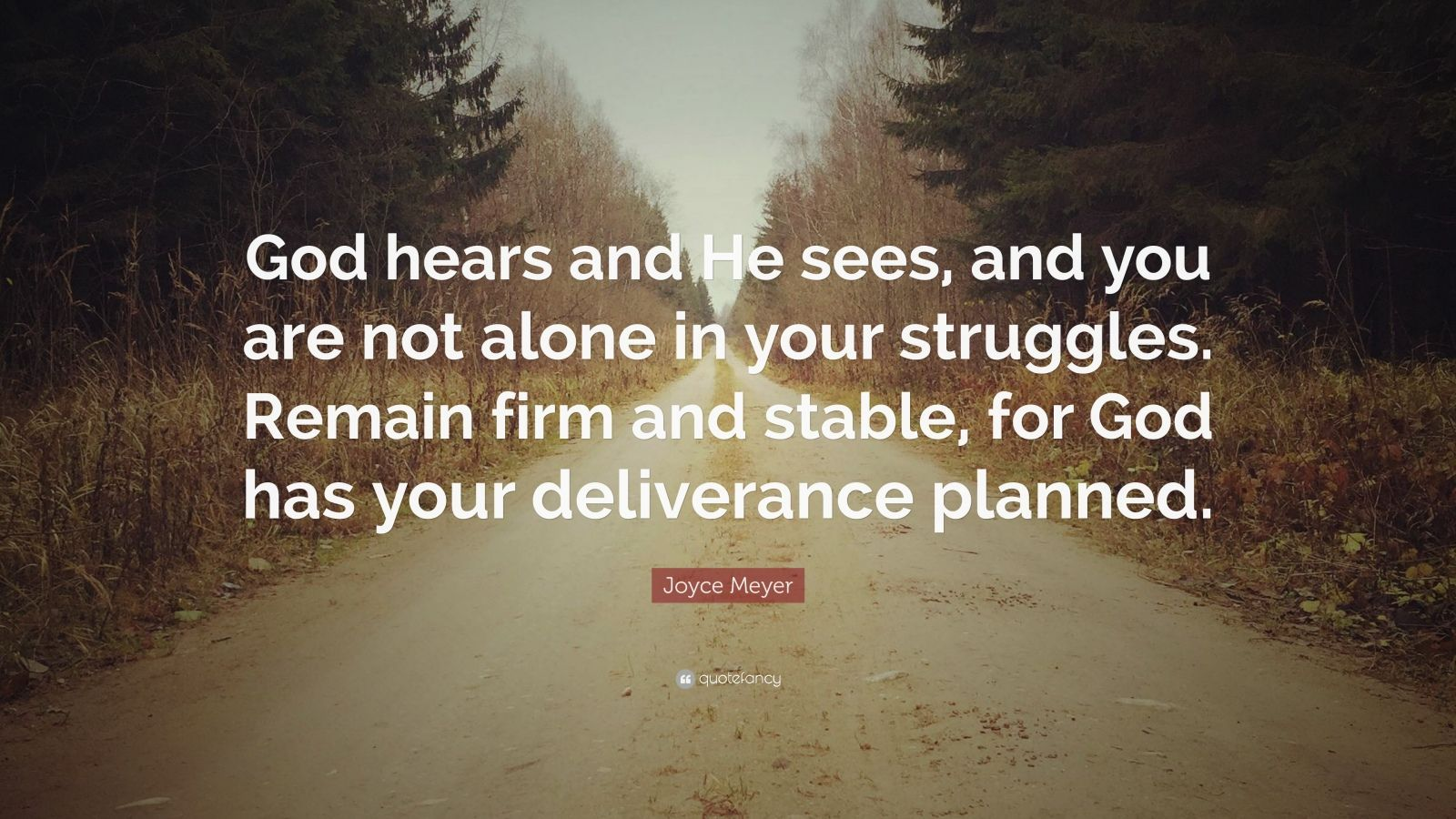 """Joyce Meyer Quote: """"God hears and He sees, and you are not alone in your struggles. Remain firm and stable, for God has your deliverance planned."""""""
