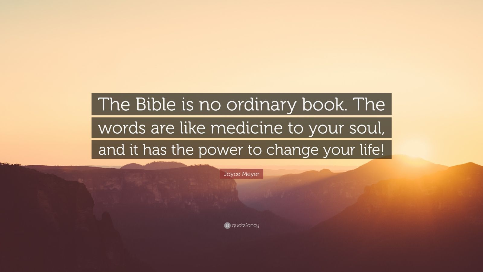 "Joyce Meyer Quote: ""The Bible is no ordinary book. The words are like medicine to your soul, and it has the power to change your life!"""