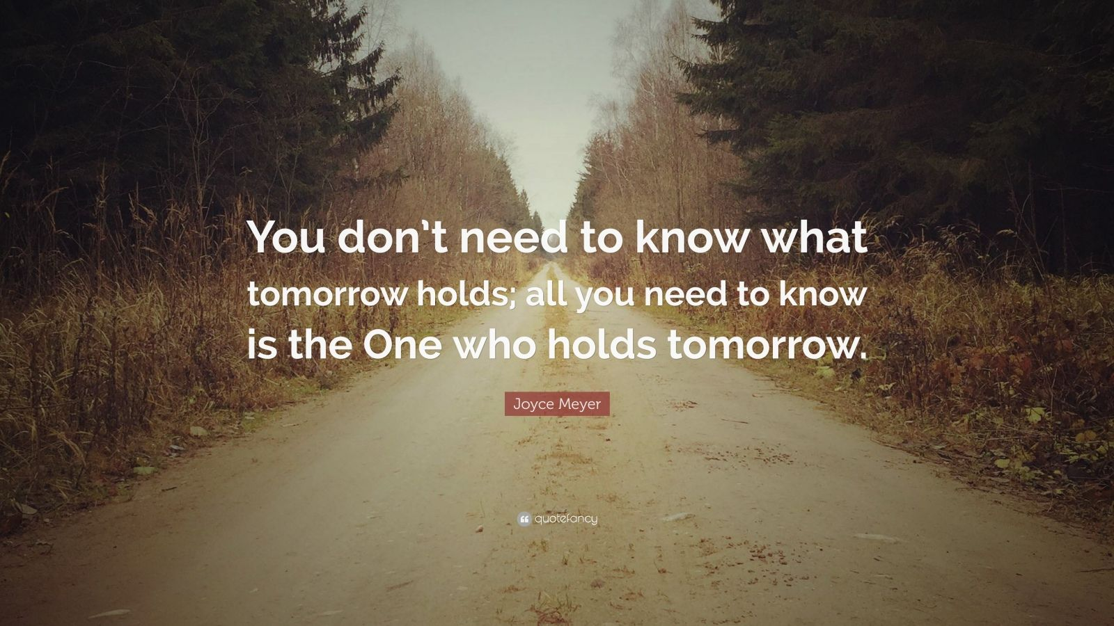 "Joyce Meyer Quote: ""You don't need to know what tomorrow holds; all you need to know is the One who holds tomorrow."""
