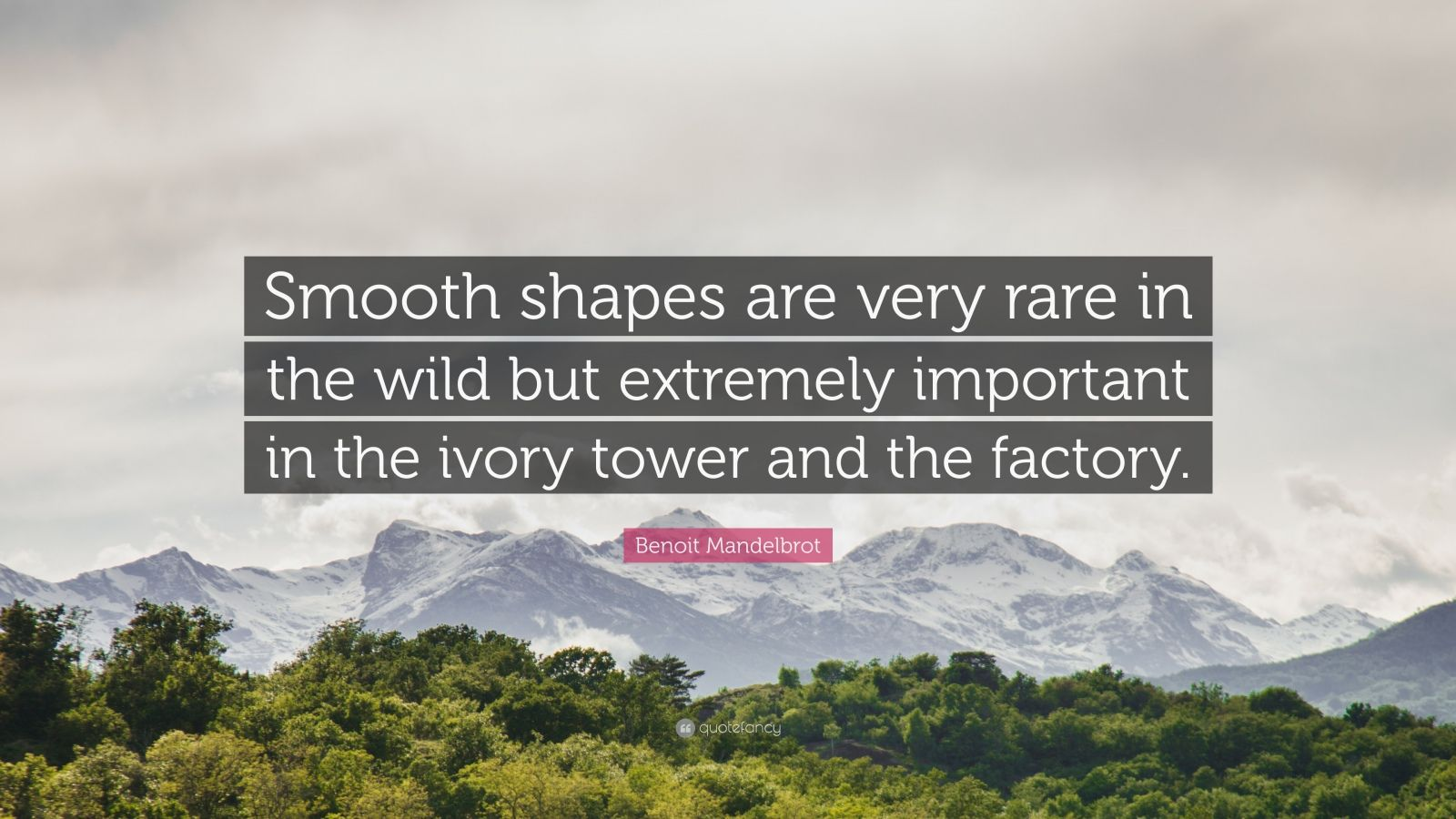 """Benoit Mandelbrot Quote: """"Smooth shapes are very rare in the wild but extremely important in the ivory tower and the factory."""""""