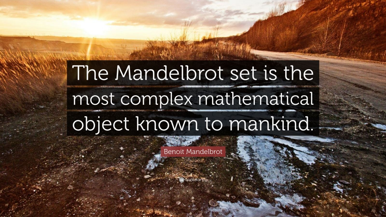 """Benoit Mandelbrot Quote: """"The Mandelbrot set is the most complex mathematical object known to mankind."""""""