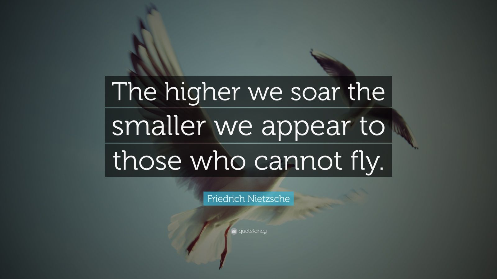 "Friedrich Nietzsche Quote: ""The higher we soar the smaller we appear to those who cannot fly."""