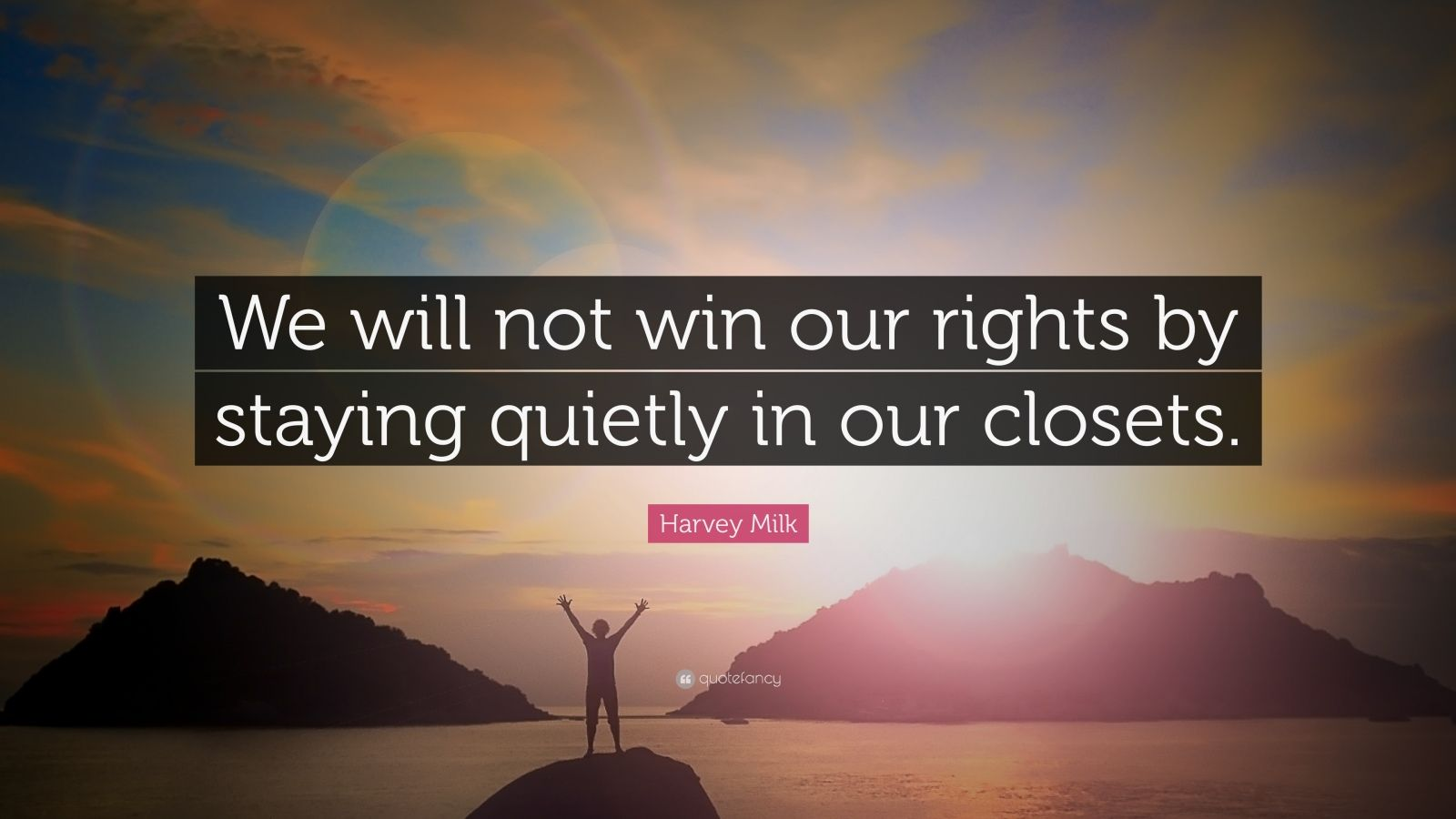 "Harvey Milk Quote: ""We will not win our rights by staying quietly in our closets."""