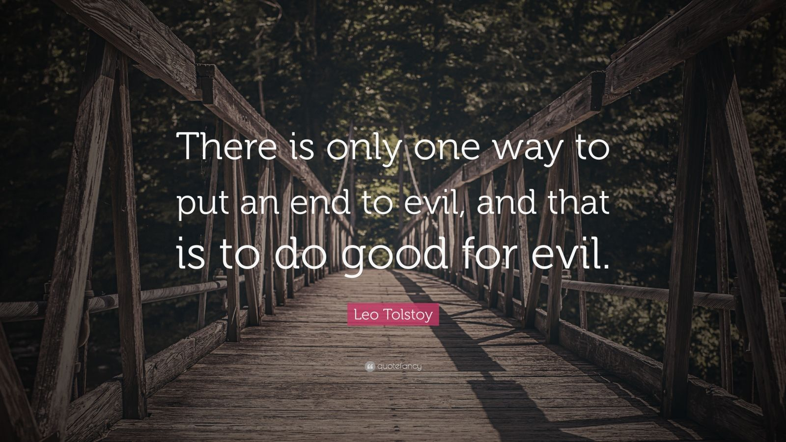 "Leo Tolstoy Quote: ""There is only one way to put an end to evil, and that is to do good for evil."""