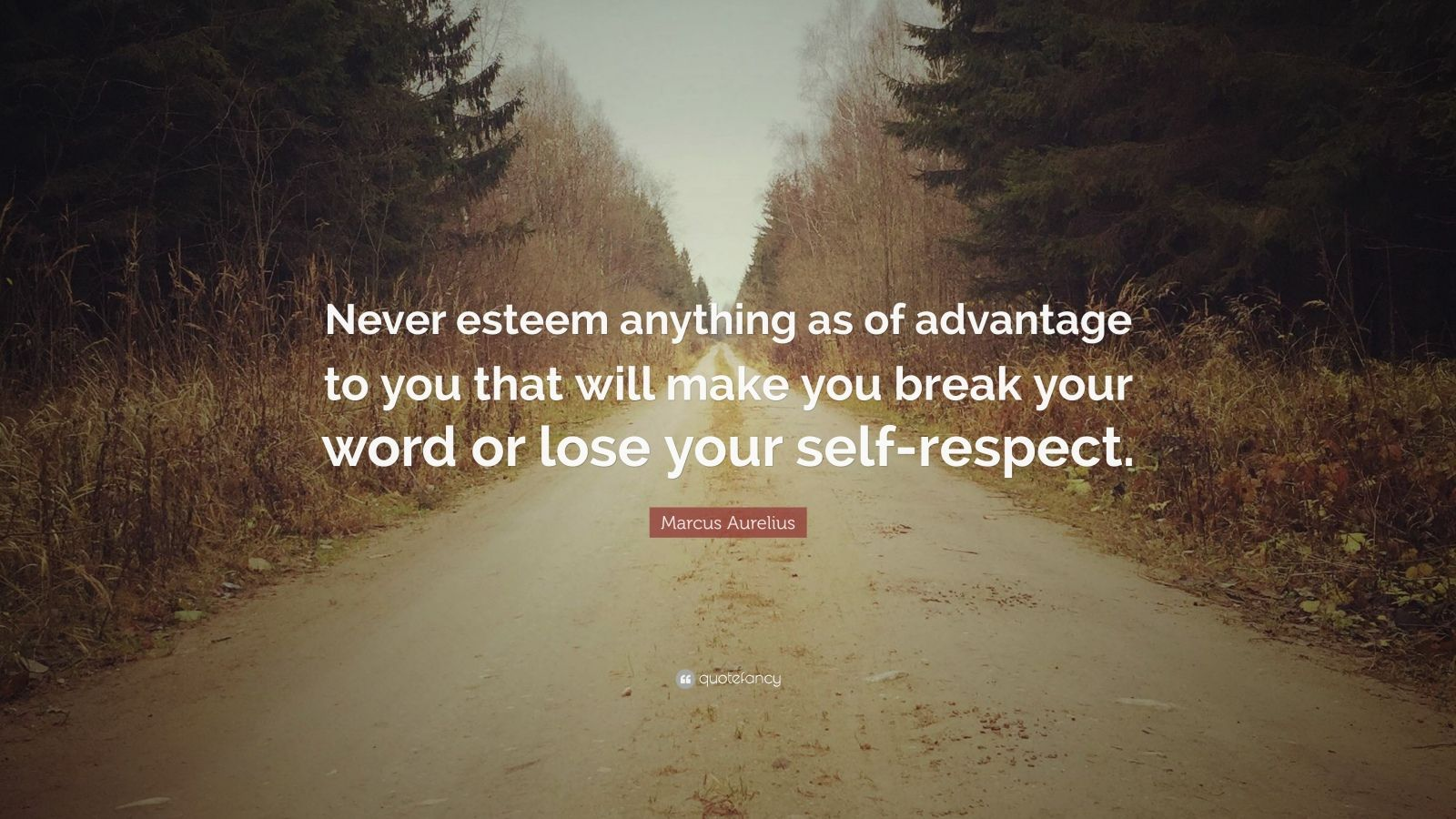 """Marcus Aurelius Quote: """"Never esteem anything as of advantage to you that will make you break your word or lose your self-respect."""""""