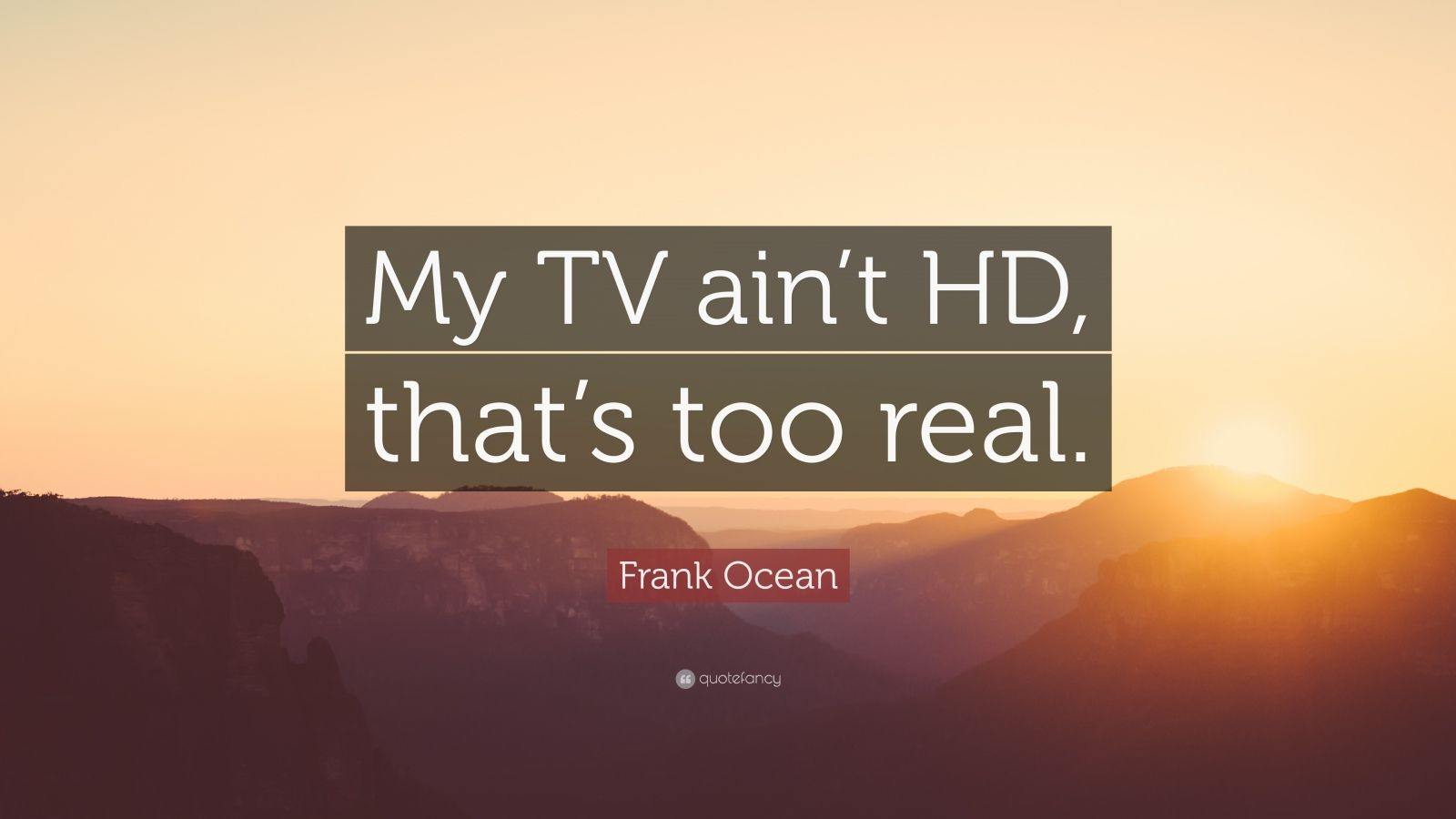 "Frank Ocean Quote: ""My TV ain't HD, that's too real."""