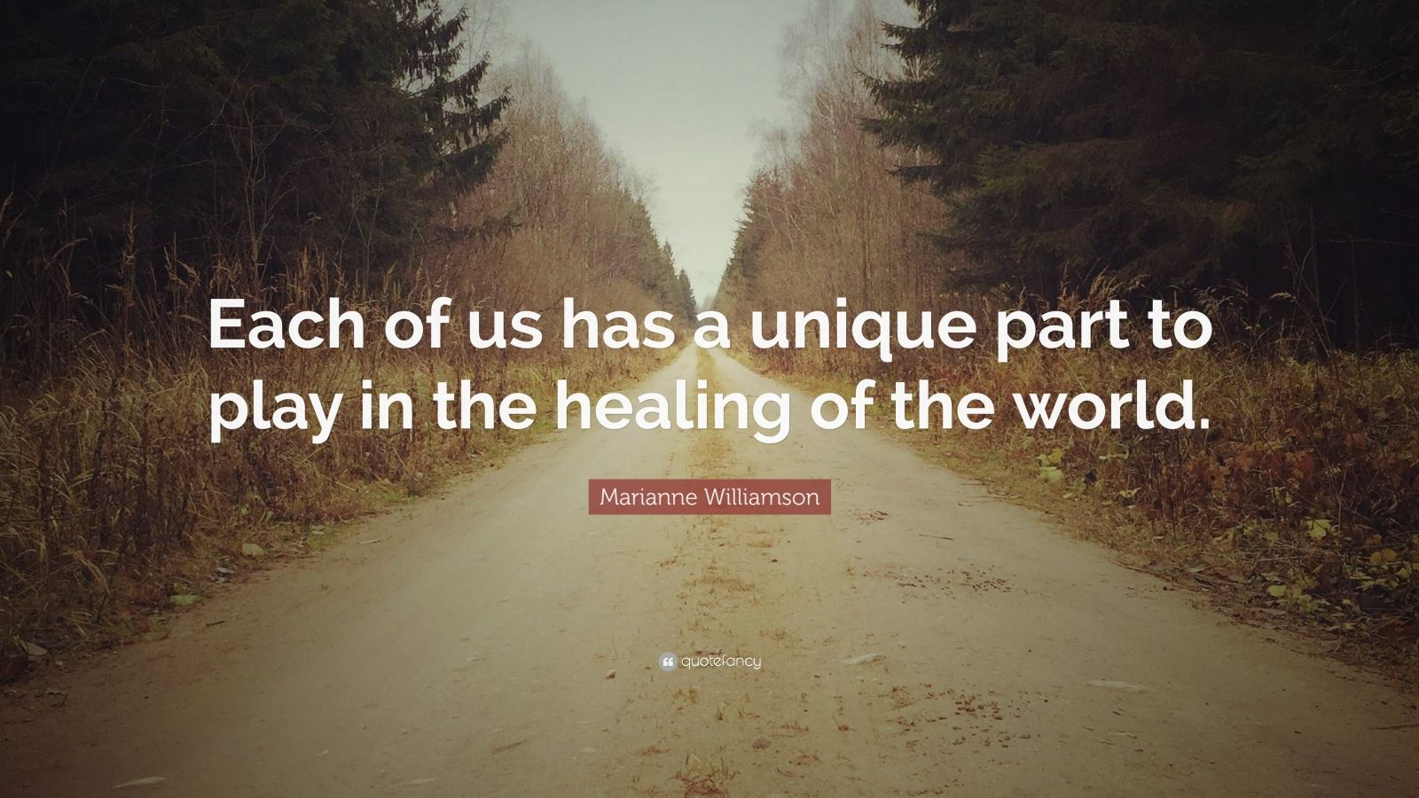 "Marianne Williamson Quote: ""Each of us has a unique part to play in the healing of the world."""