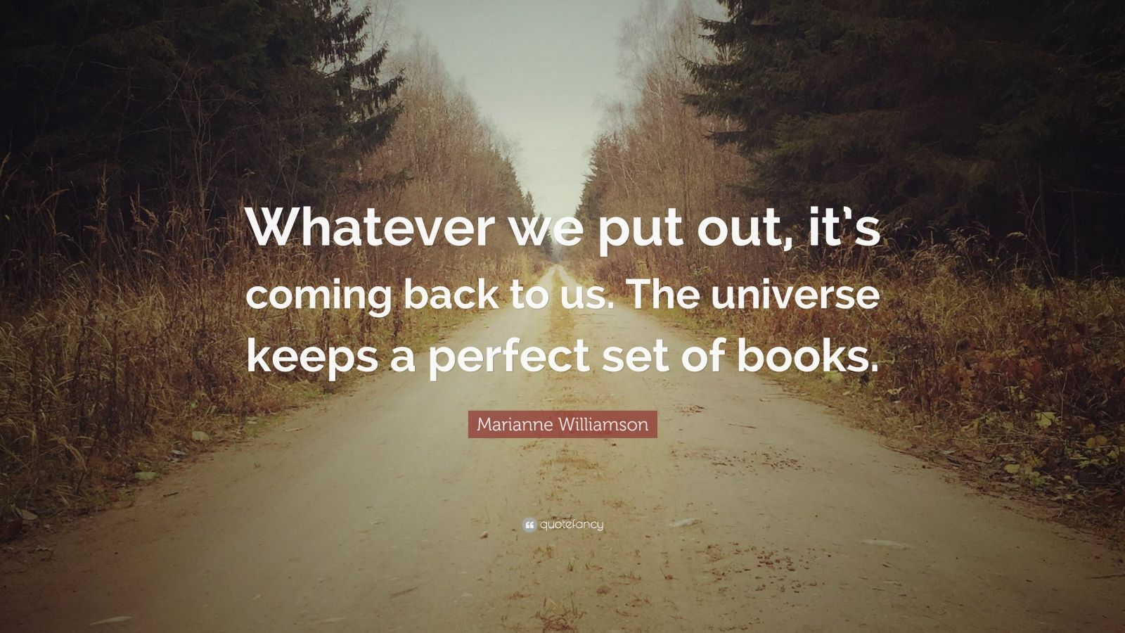 "Marianne Williamson Quote: ""Whatever we put out, it's coming back to us. The universe keeps a perfect set of books."""