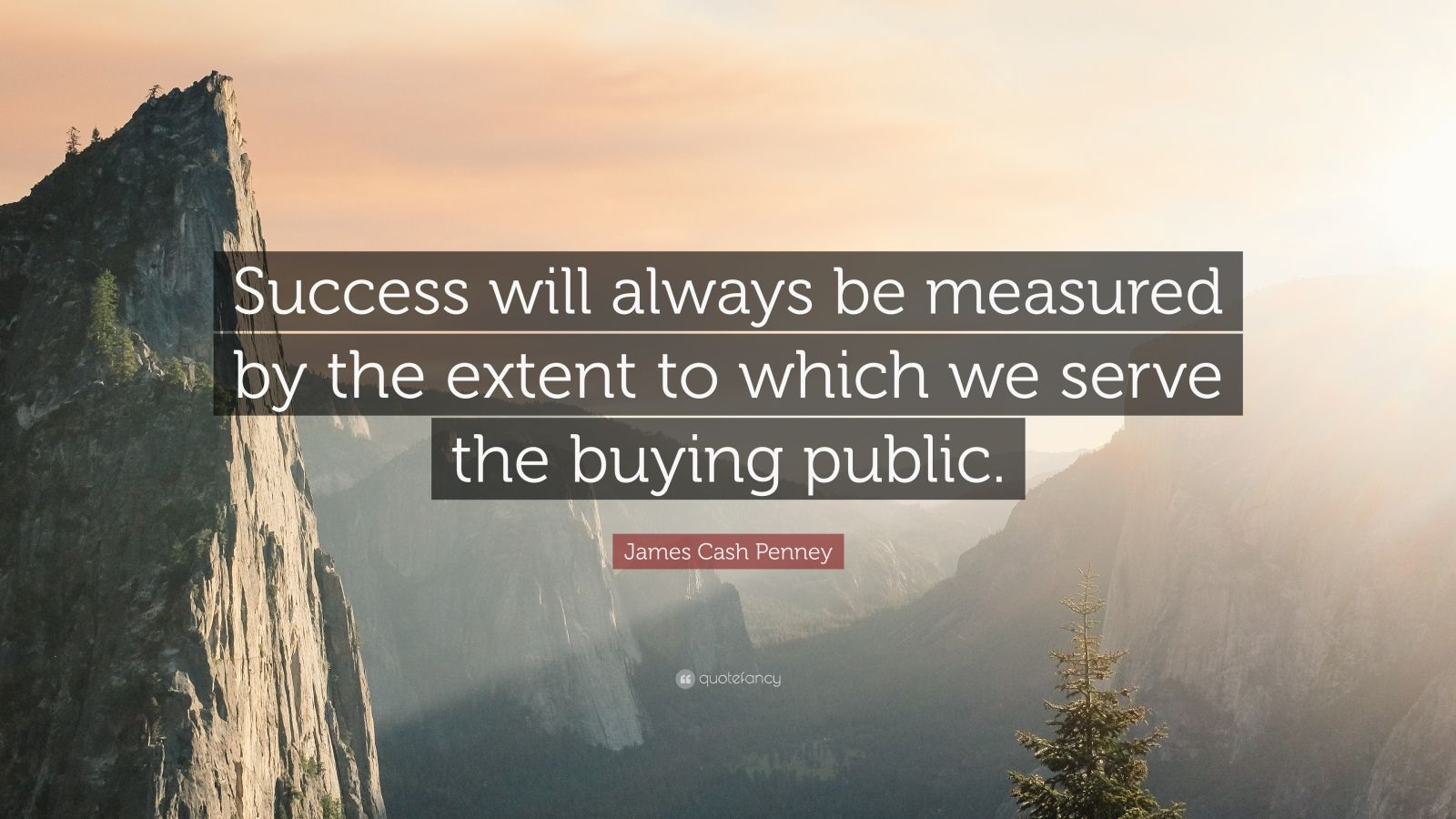 "James Cash Penney Quote: ""Success will always be measured by the extent to which we serve the buying public."""