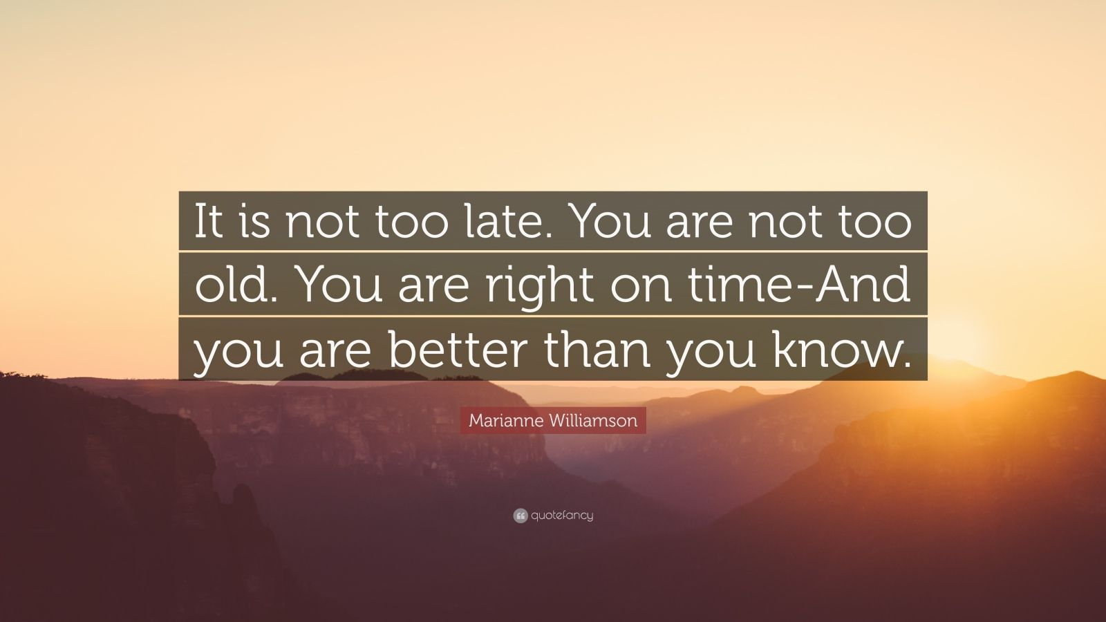 "Marianne Williamson Quote: ""It is not too late. You are not too old. You are right on time-And you are better than you know."""