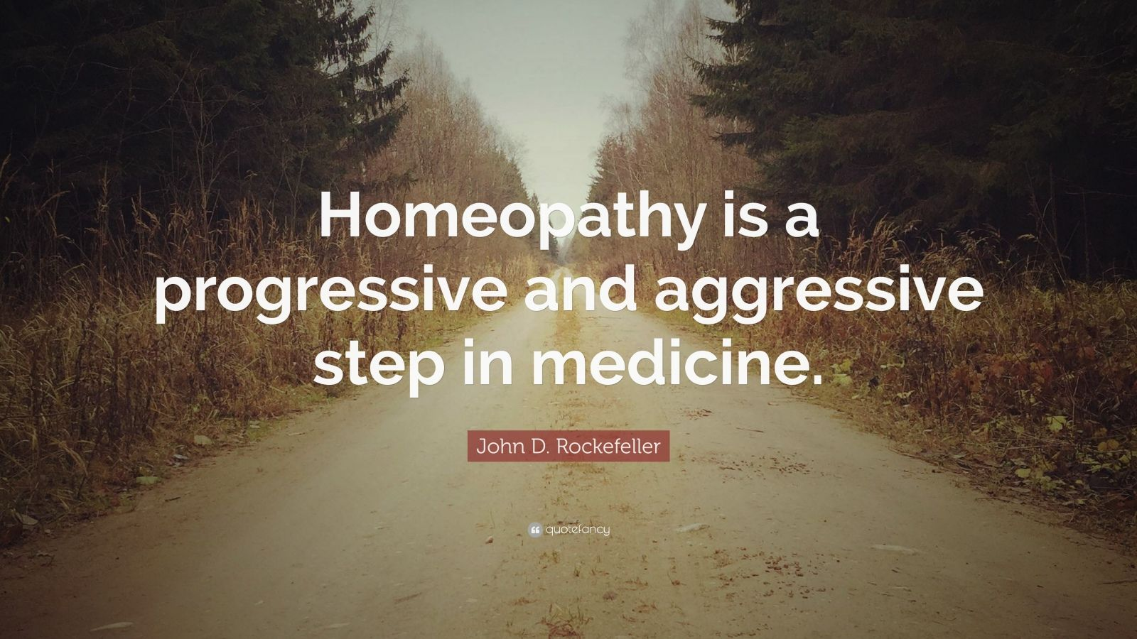 """John D. Rockefeller Quote: """"Homeopathy is a progressive and aggressive step in medicine."""""""