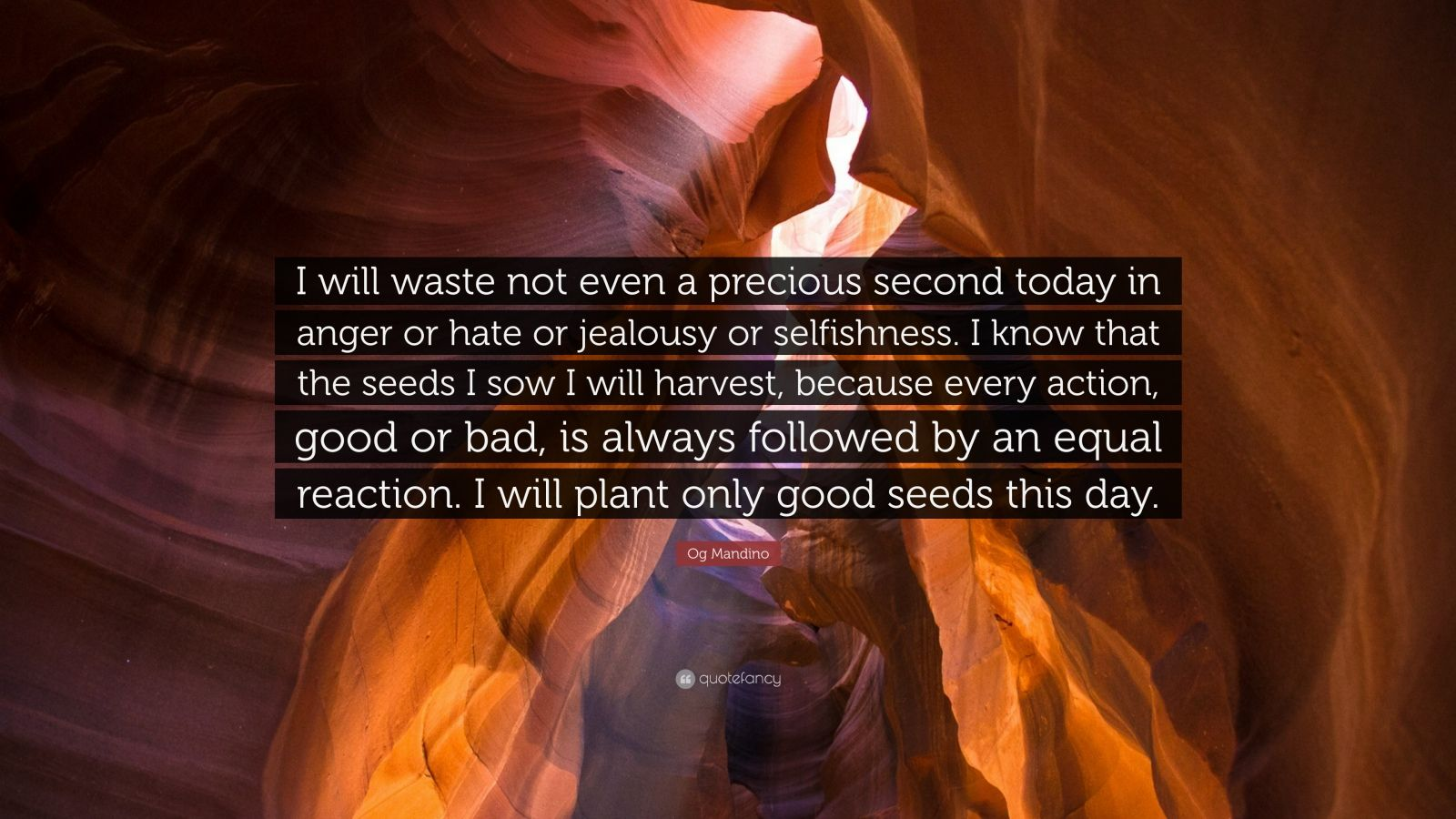 "Og Mandino Quote: ""I will waste not even a precious second today in anger or hate or jealousy or selfishness. I know that the seeds I sow I will harvest, because every action, good or bad, is always followed by an equal reaction. I will plant only good seeds this day."""