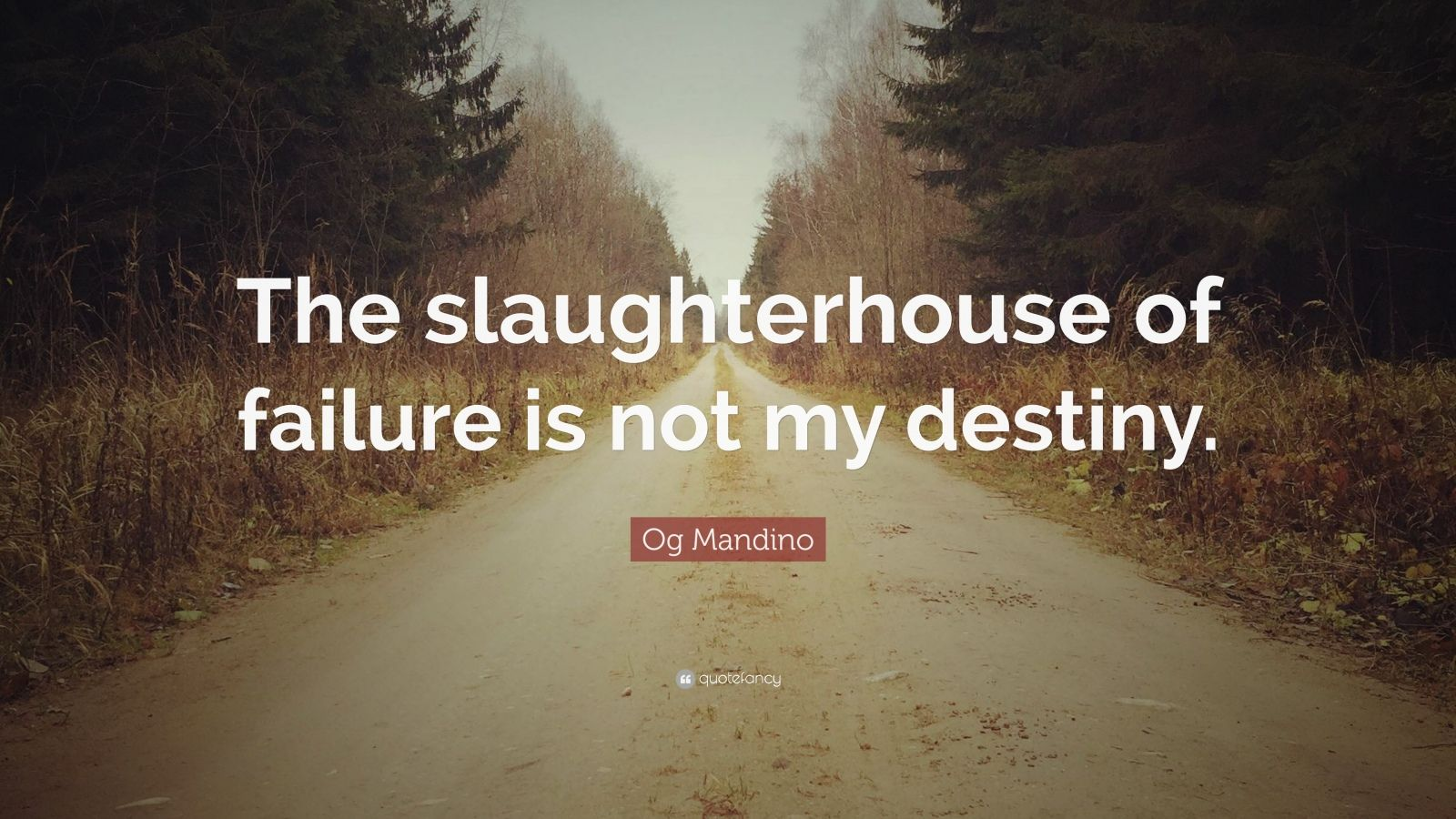 """Og Mandino Quote: """"The slaughterhouse of failure is not my destiny."""""""