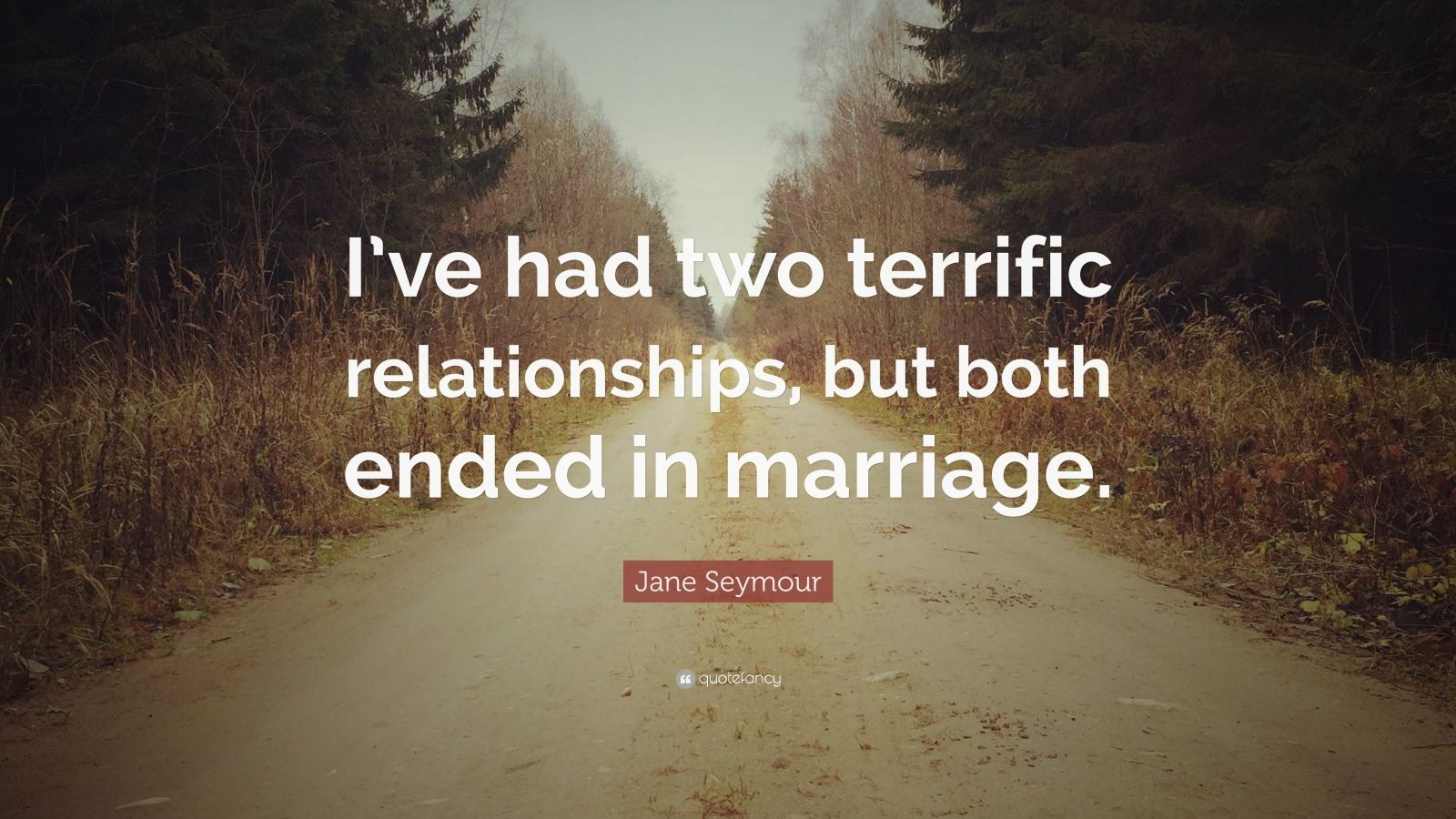 """Jane Seymour Quote: """"I've had two terrific relationships, but both ended in marriage."""""""