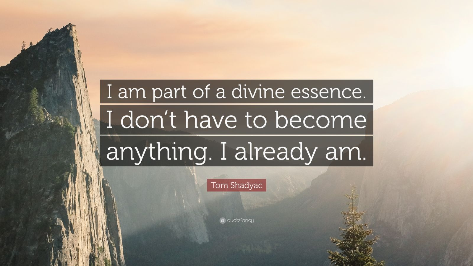 "Tom Shadyac Quote: ""I am part of a divine essence. I don't have to become anything. I already am."""