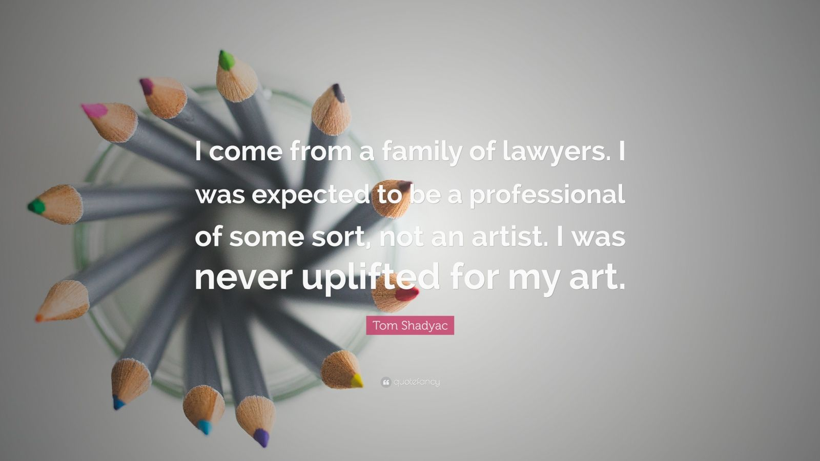 """Tom Shadyac Quote: """"I come from a family of lawyers. I was expected to be a professional of some sort, not an artist. I was never uplifted for my art."""""""