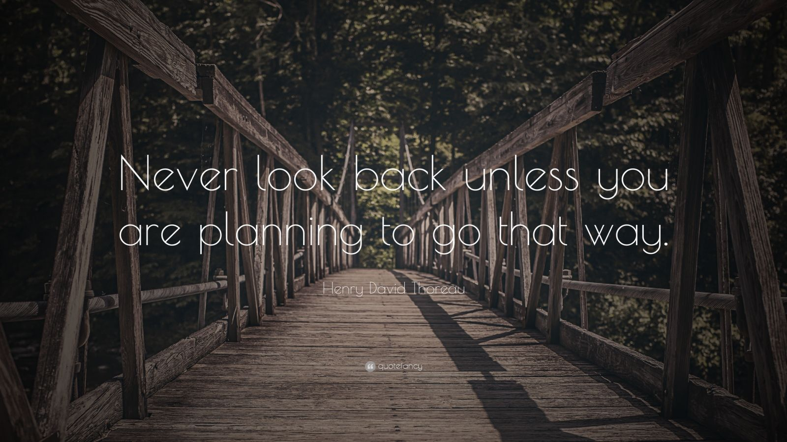 """Henry David Thoreau Quote: """"Never look back unless you are planning to go that way."""""""