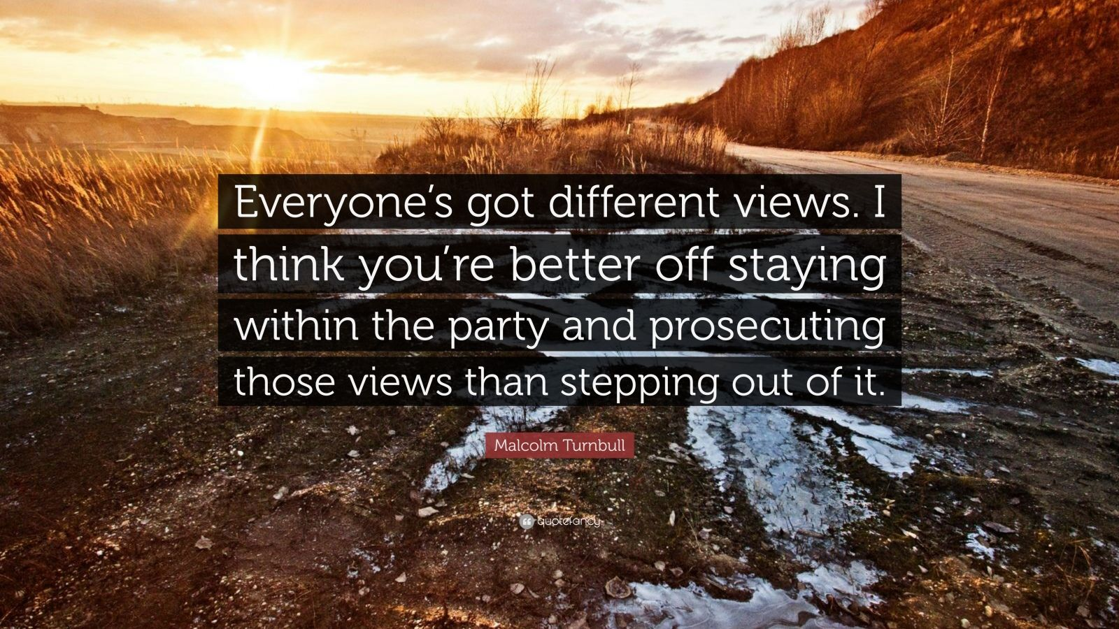 "Malcolm Turnbull Quote: ""Everyone's got different views. I think you're better off staying within the party and prosecuting those views than stepping out of it."""