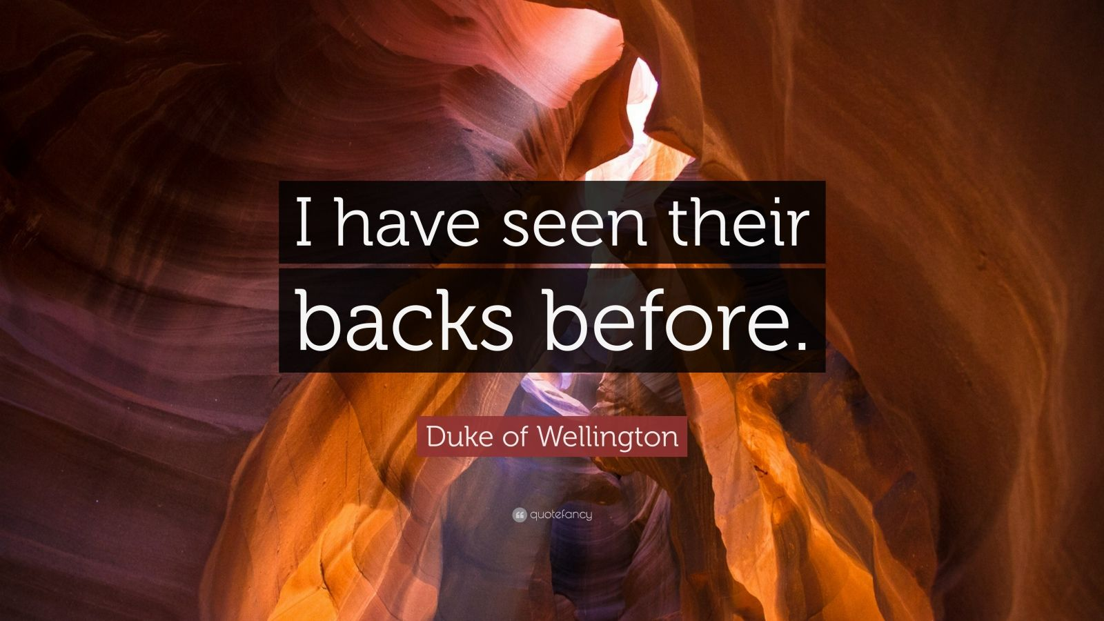 "Duke of Wellington Quote: ""I have seen their backs before."""