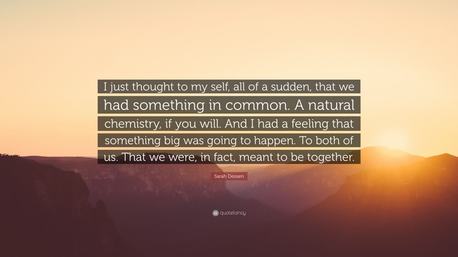 """Sarah Dessen Quote: """"I just thought to my self, all of a sudden, that we had something in common. A natural chemistry, if you will. And I had a feeling that something big was going to happen. To both of us. That we were, in fact, meant to be together."""""""