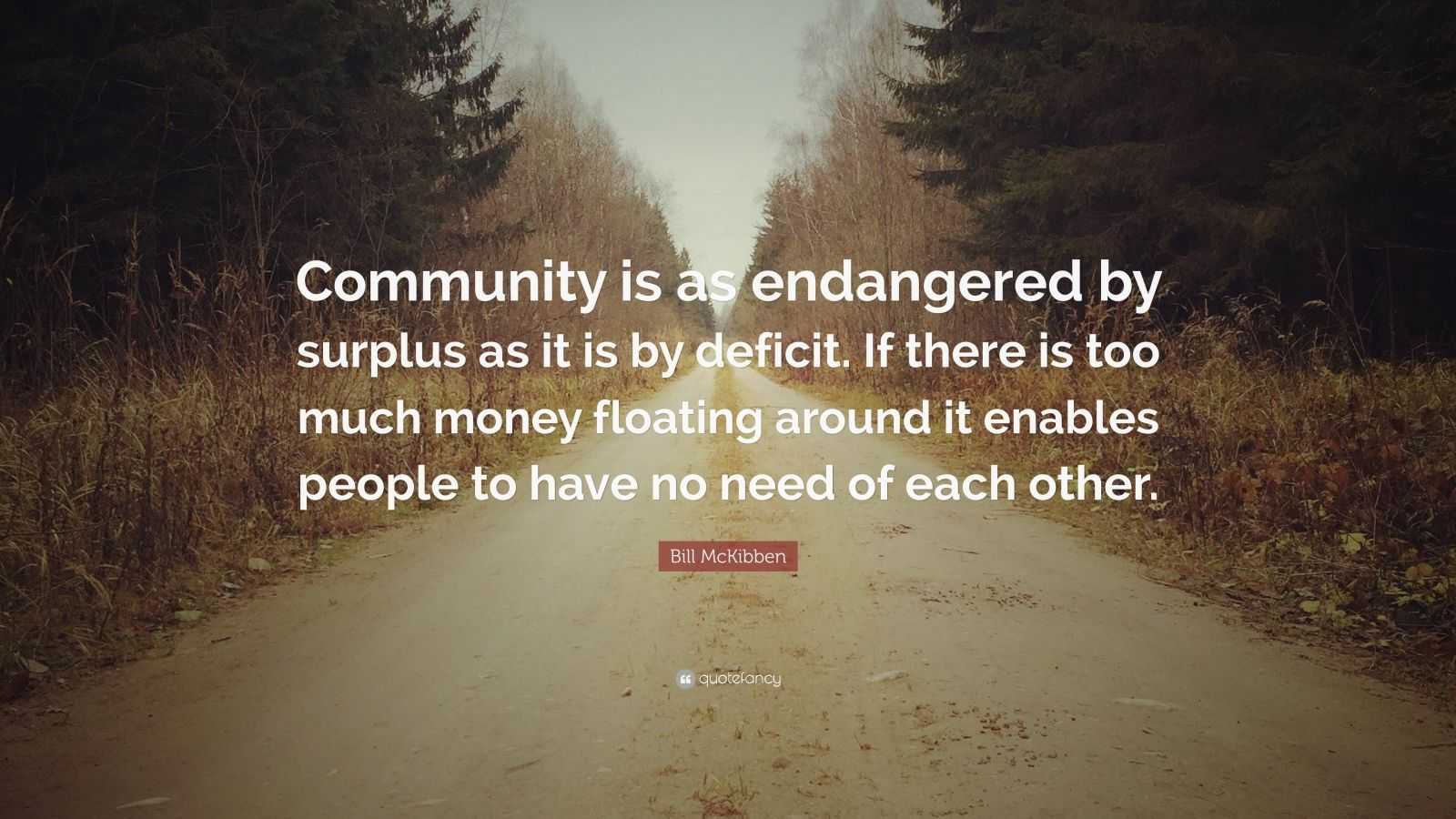 """Bill McKibben Quote: """"Community is as endangered by surplus as it is by deficit. If there is too much money floating around it enables people to have no need of each other."""""""