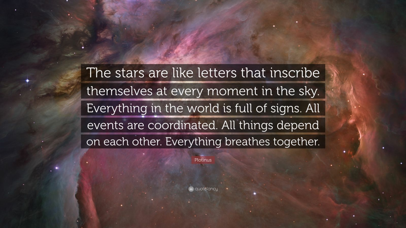 "Plotinus Quote: ""The stars are like letters that inscribe themselves at every moment in the sky. Everything in the world is full of signs. All events are coordinated. All things depend on each other. Everything breathes together."""