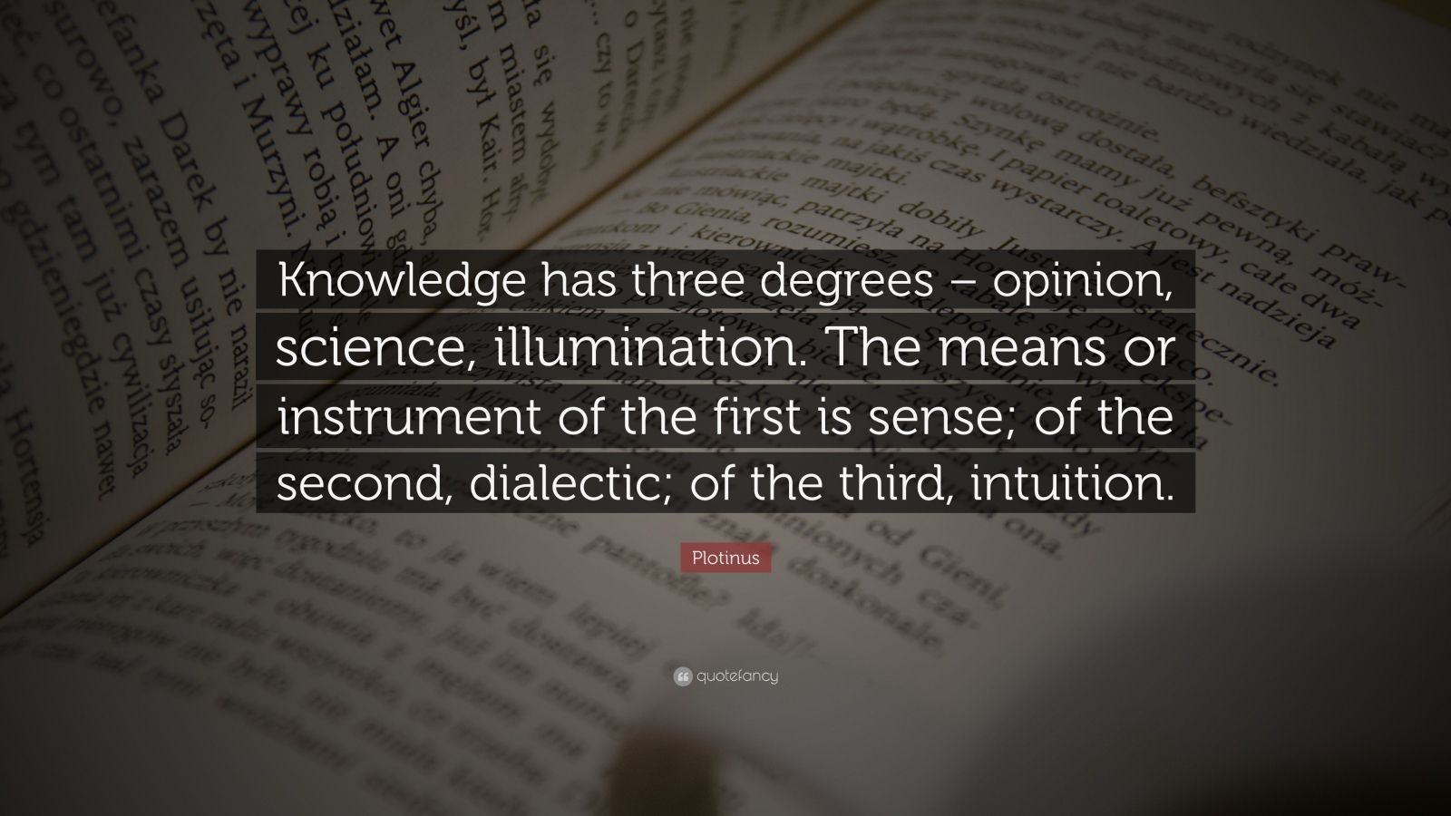 """Plotinus Quote: """"Knowledge has three degrees – opinion, science, illumination. The means or instrument of the first is sense; of the second, dialectic; of the third, intuition."""""""
