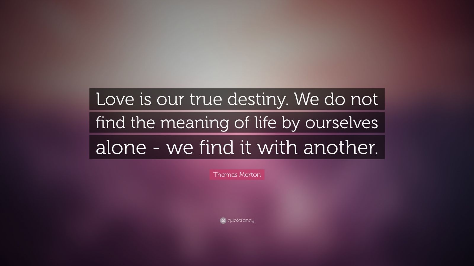 "Thomas Merton Quote: ""Love is our true destiny. We do not find the meaning of life by ourselves alone - we find it with another."""