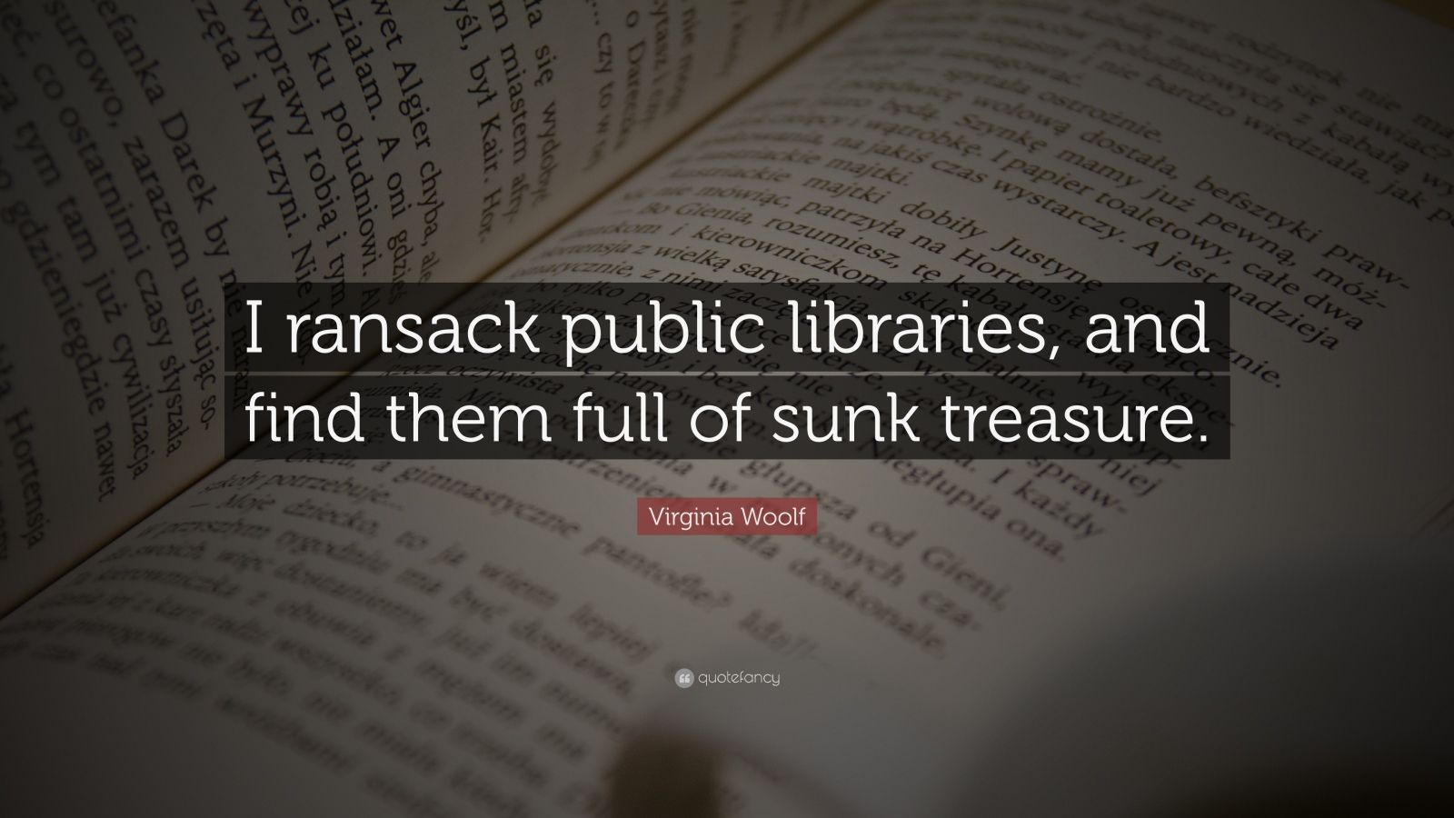 """Virginia Woolf Quote: """"I ransack public libraries, and find them full of sunk treasure."""""""