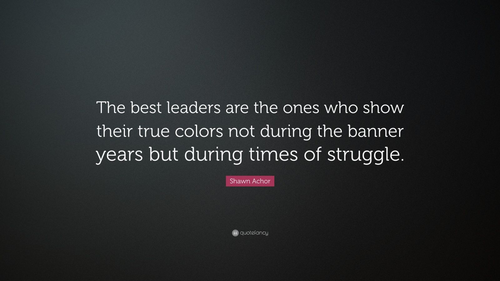 "Shawn Achor Quote: ""The best leaders are the ones who show their true colors not during the banner years but during times of struggle."""