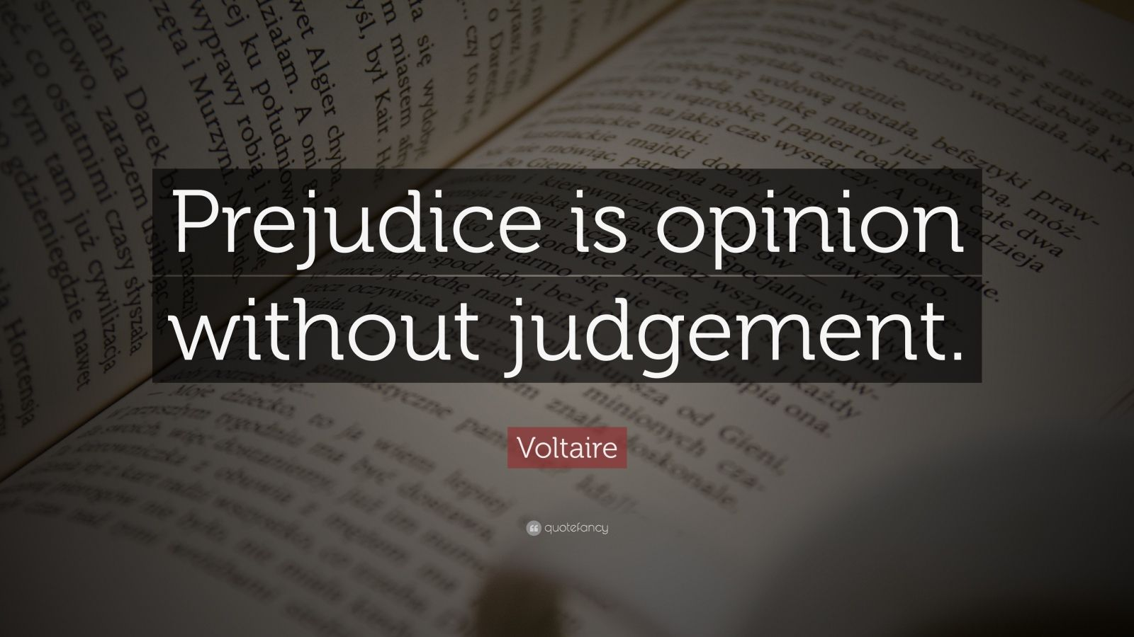 "Voltaire Quote: ""Prejudice is opinion without judgement."""