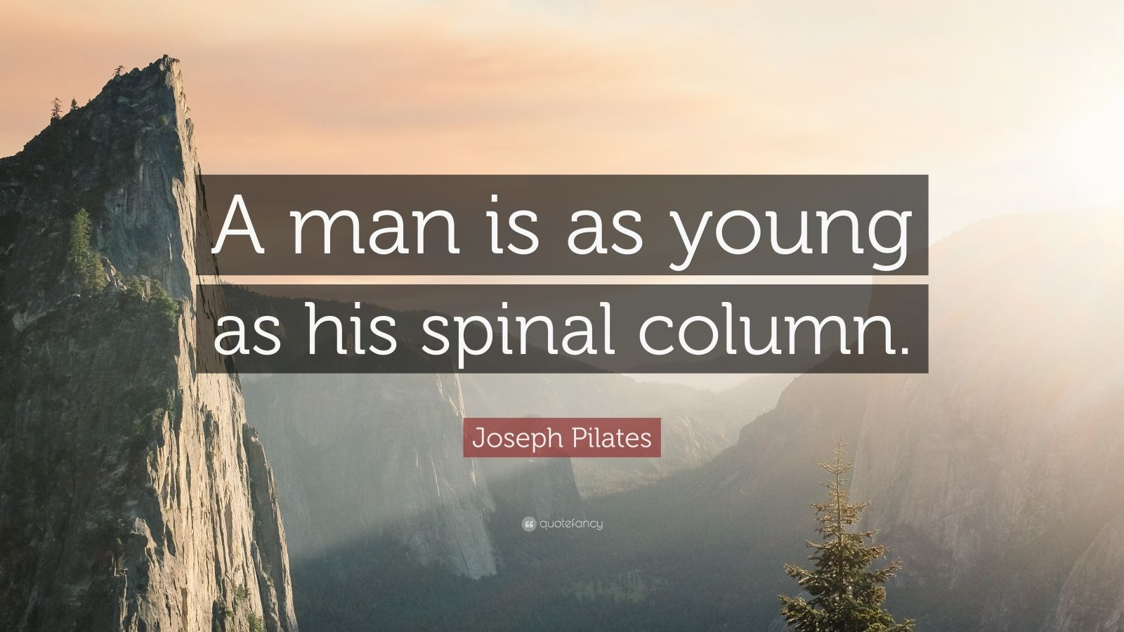 """Joseph Pilates Quote: """"A man is as young as his spinal column."""""""