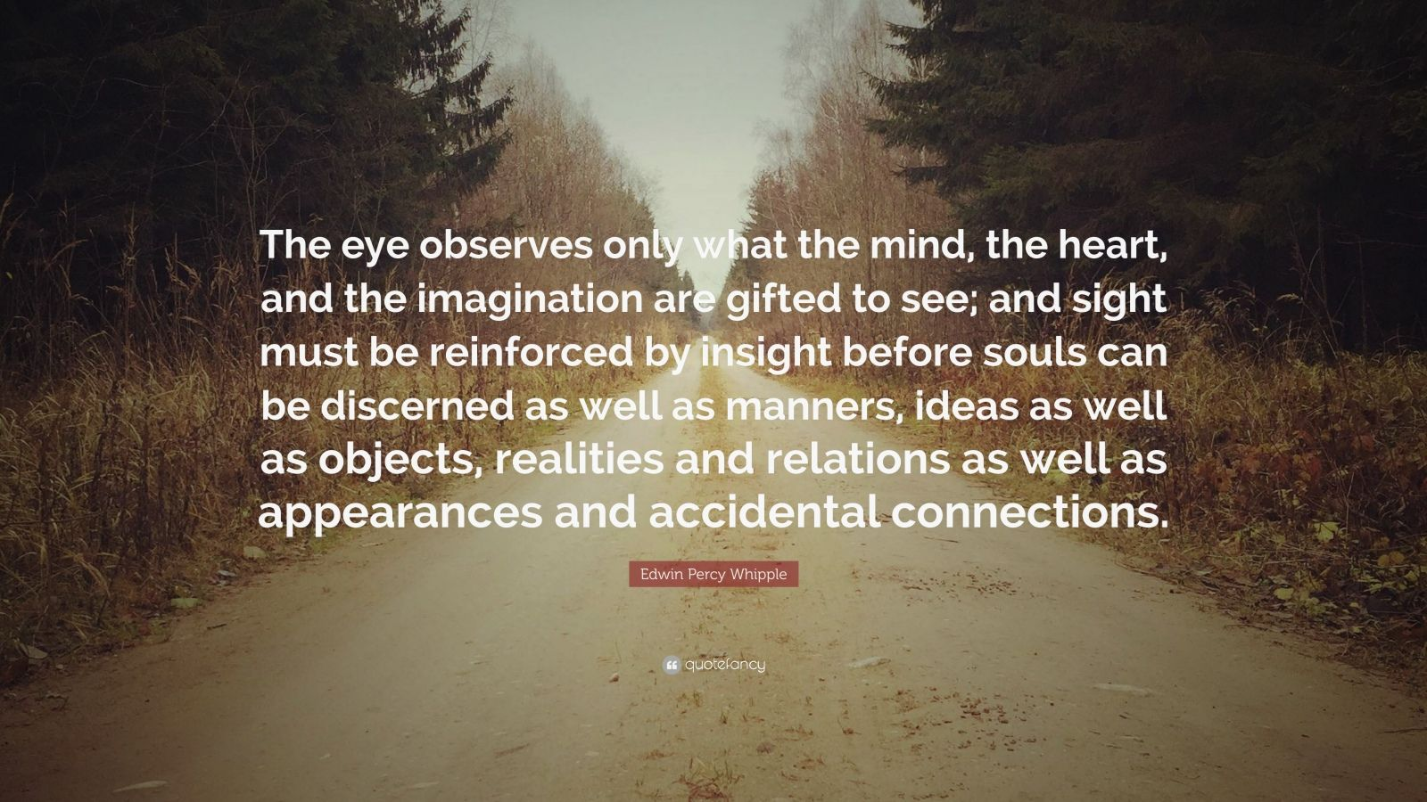 """Edwin Percy Whipple Quote: """"The eye observes only what the mind, the heart, and the imagination are gifted to see; and sight must be reinforced by insight before souls can be discerned as well as manners, ideas as well as objects, realities and relations as well as appearances and accidental connections."""""""