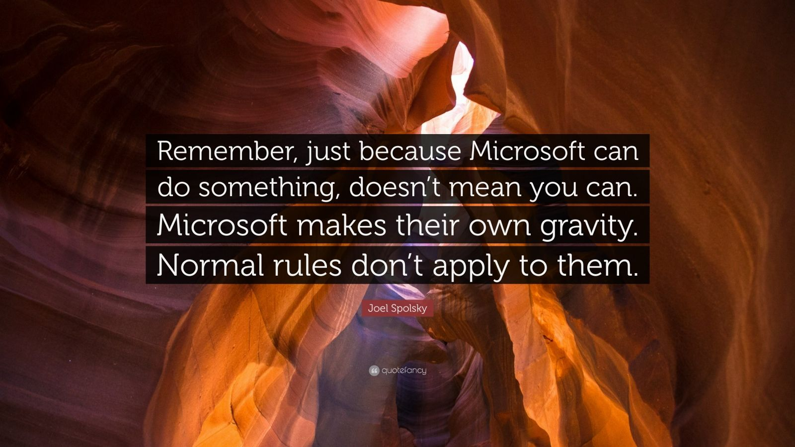 "Joel Spolsky Quote: ""Remember, just because Microsoft can do something, doesn't mean you can. Microsoft makes their own gravity. Normal rules don't apply to them."""