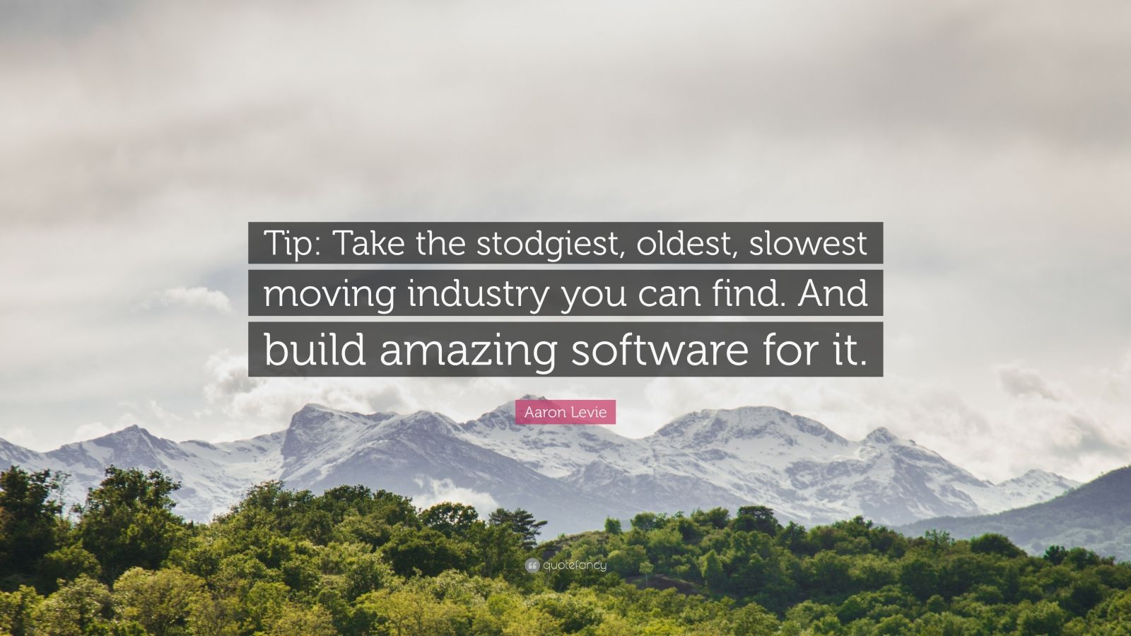 """Aaron Levie Quote: """"Tip: Take the stodgiest, oldest, slowest moving industry you can find. And build amazing software for it."""""""