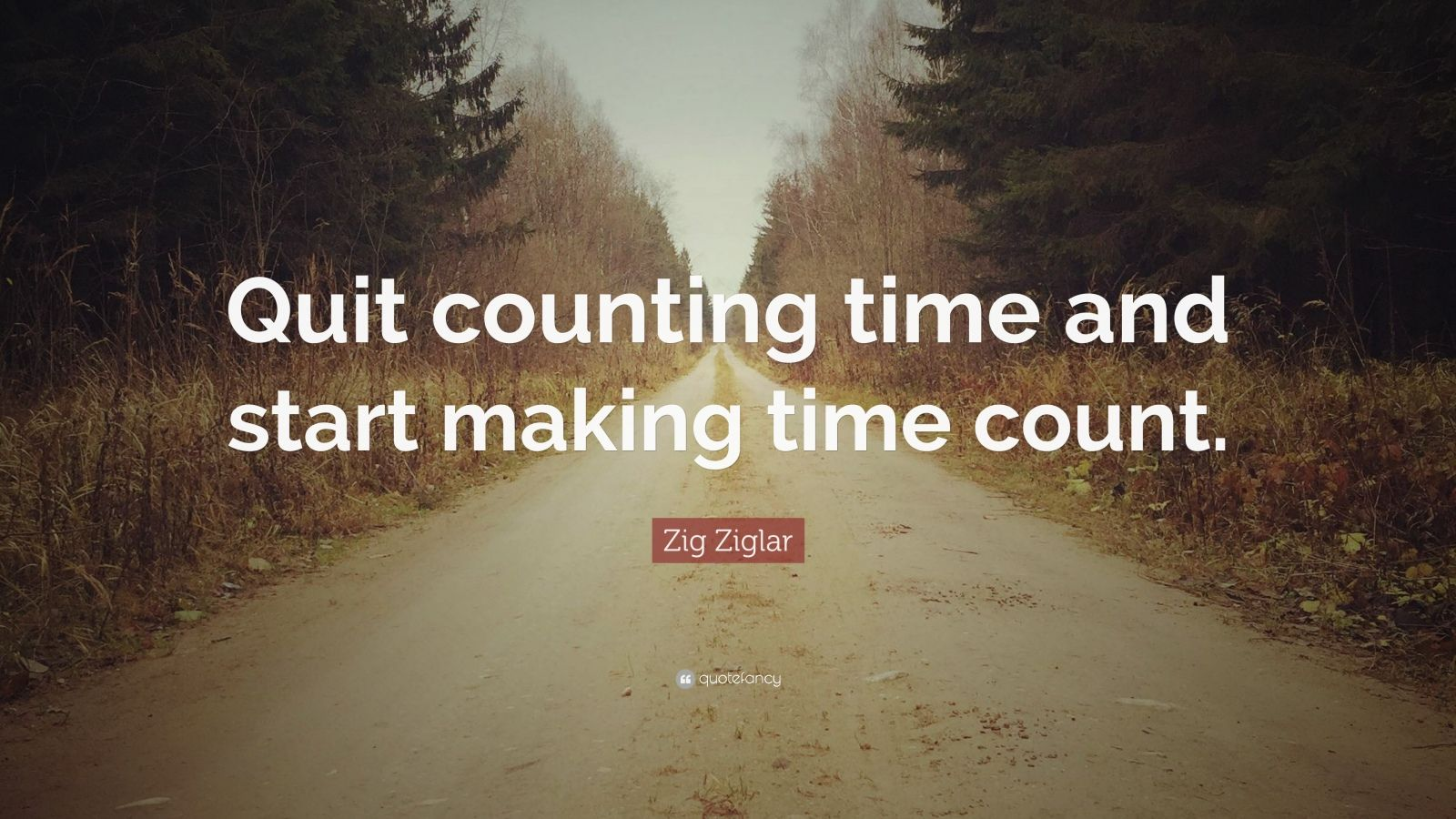 """Zig Ziglar Quote: """"Quit counting time and start making time count."""""""