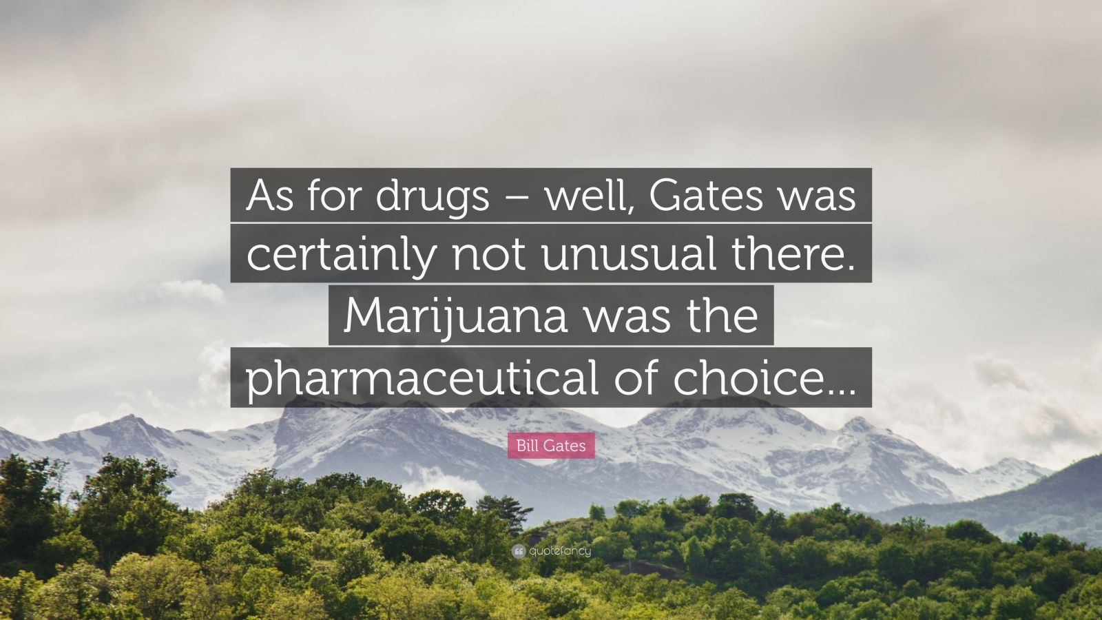 "Bill Gates Quote: ""As for drugs – well, Gates was certainly not unusual there. Marijuana was the pharmaceutical of choice..."""