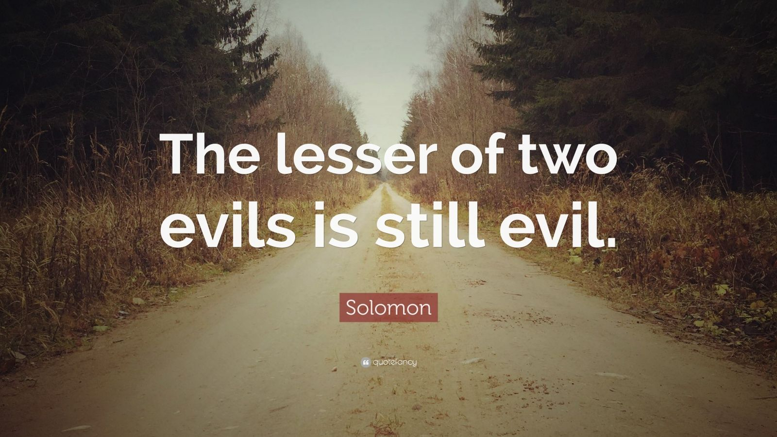 "Solomon Quote: ""The lesser of two evils is still evil."""