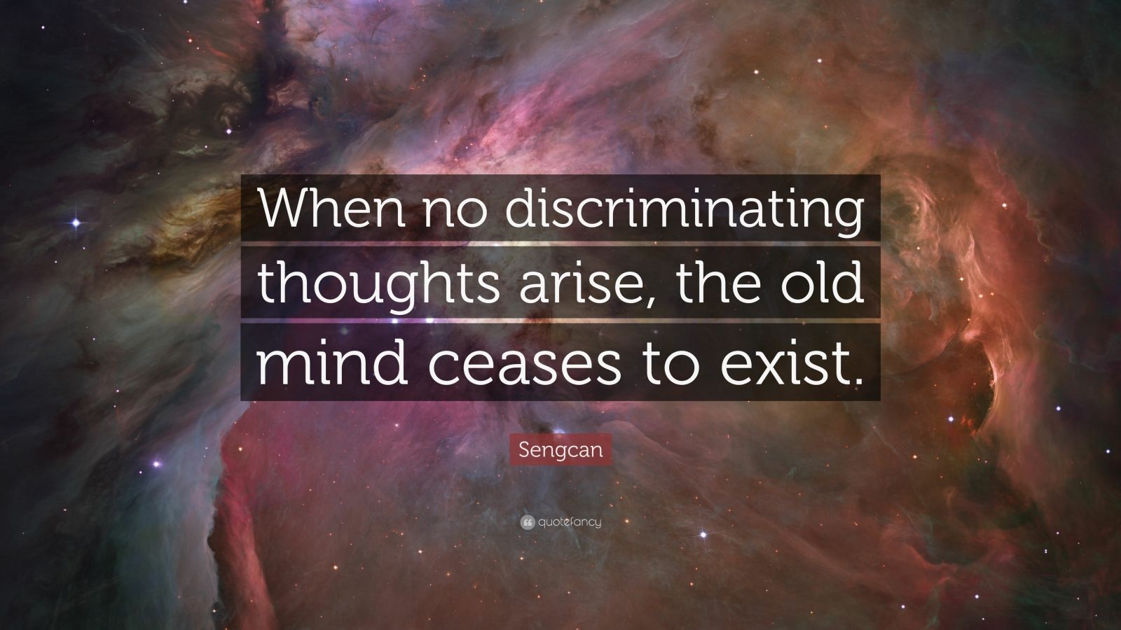 """Sengcan Quote: """"When no discriminating thoughts arise, the old mind ceases to exist."""""""
