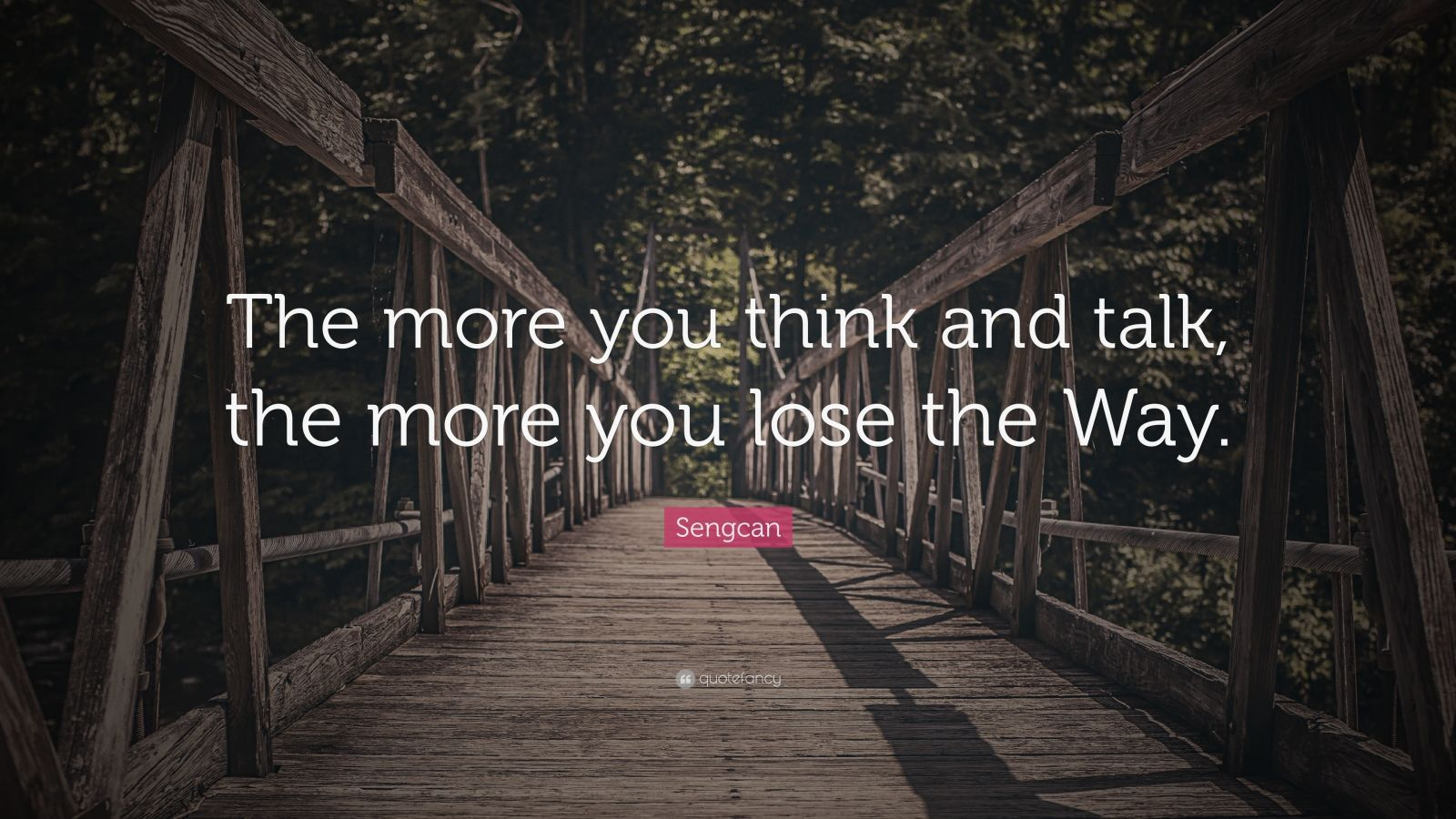"Sengcan Quote: ""The more you think and talk, the more you lose the Way."""