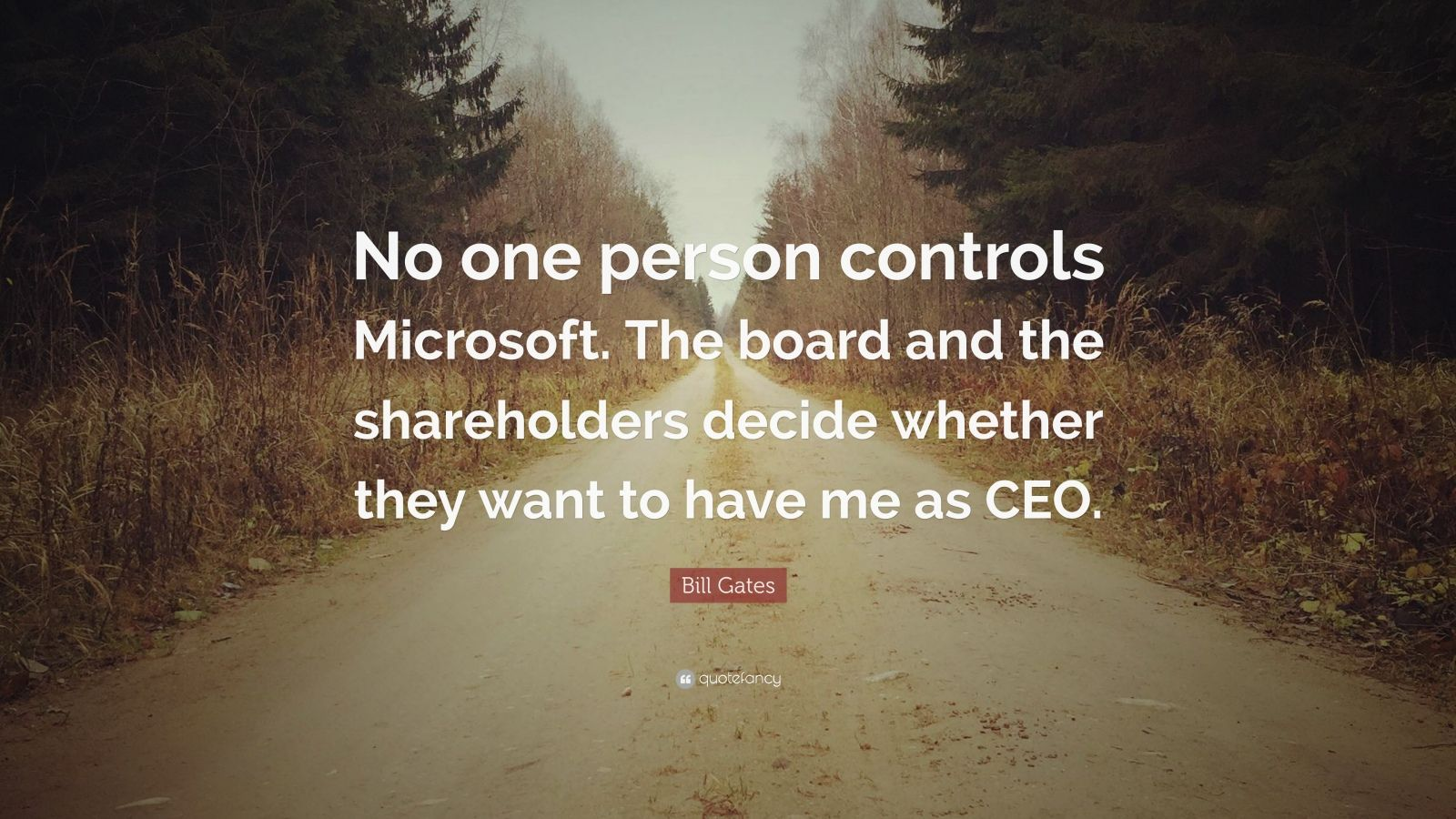 "Bill Gates Quote: ""No one person controls Microsoft. The board and the shareholders decide whether they want to have me as CEO."""