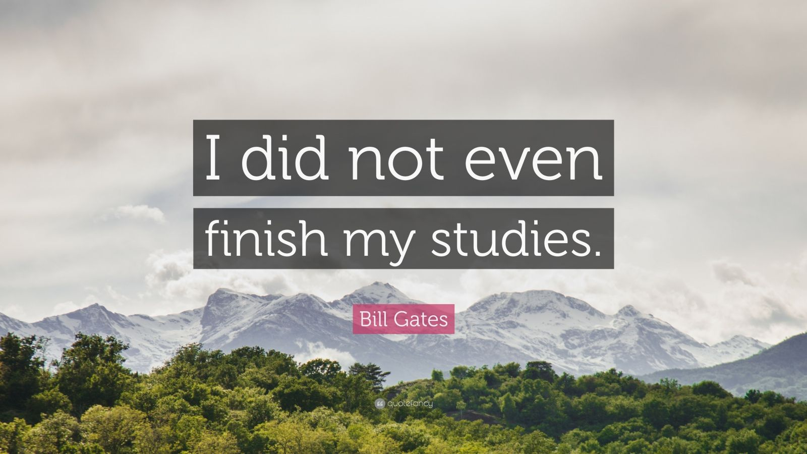 """Bill Gates Quote: """"I did not even finish my studies."""""""