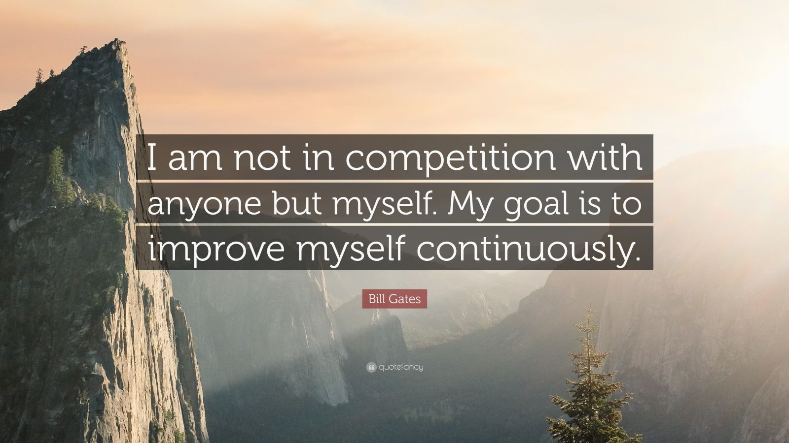 "Bill Gates Quote: ""I am not in competition with anyone but myself. My goal is to improve myself continuously."""