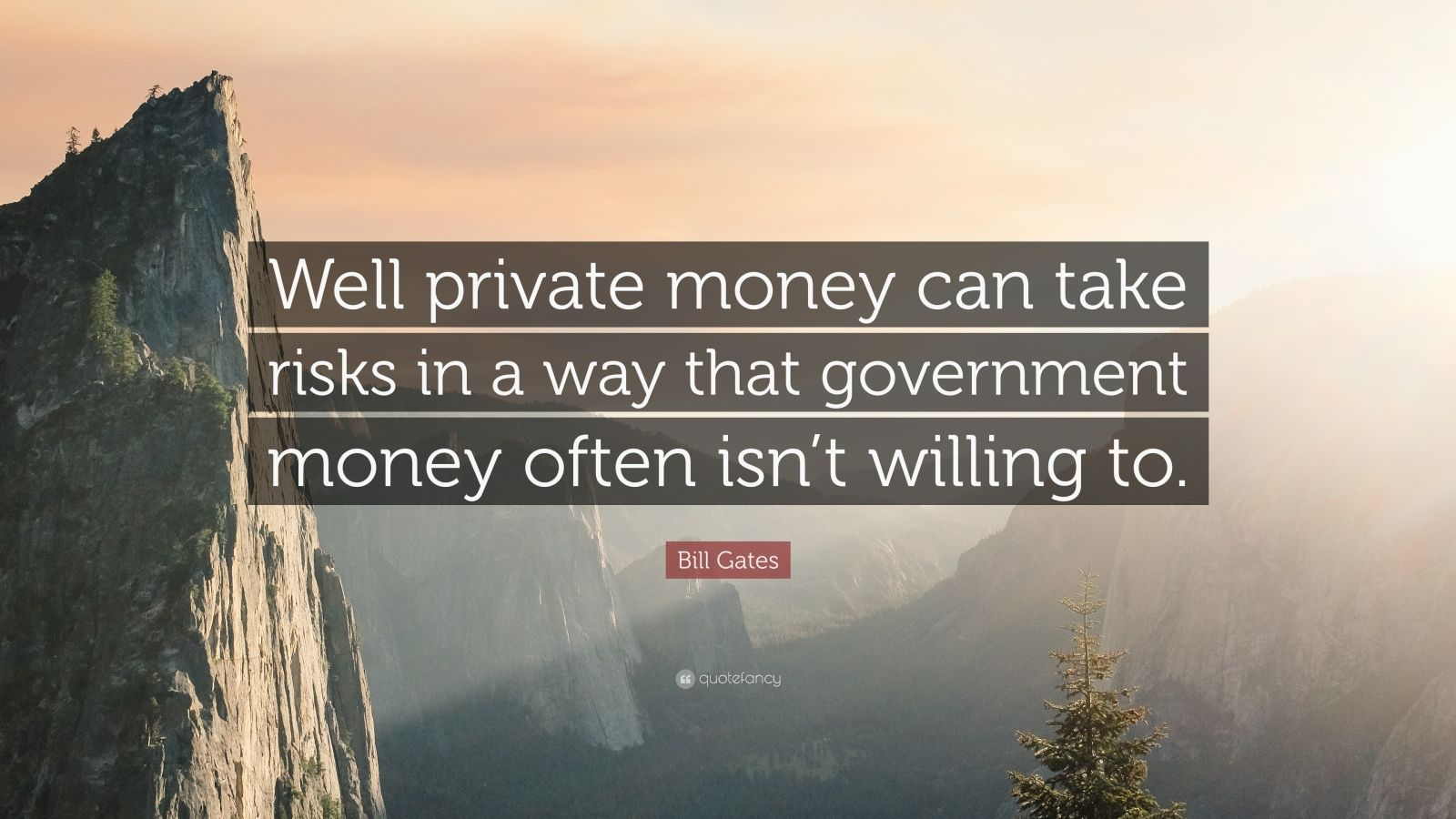 "Bill Gates Quote: ""Well private money can take risks in a way that government money often isn't willing to."""