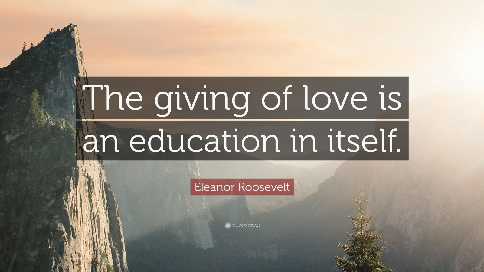 """Eleanor Roosevelt Quote: """"The giving of love is an education in itself."""""""