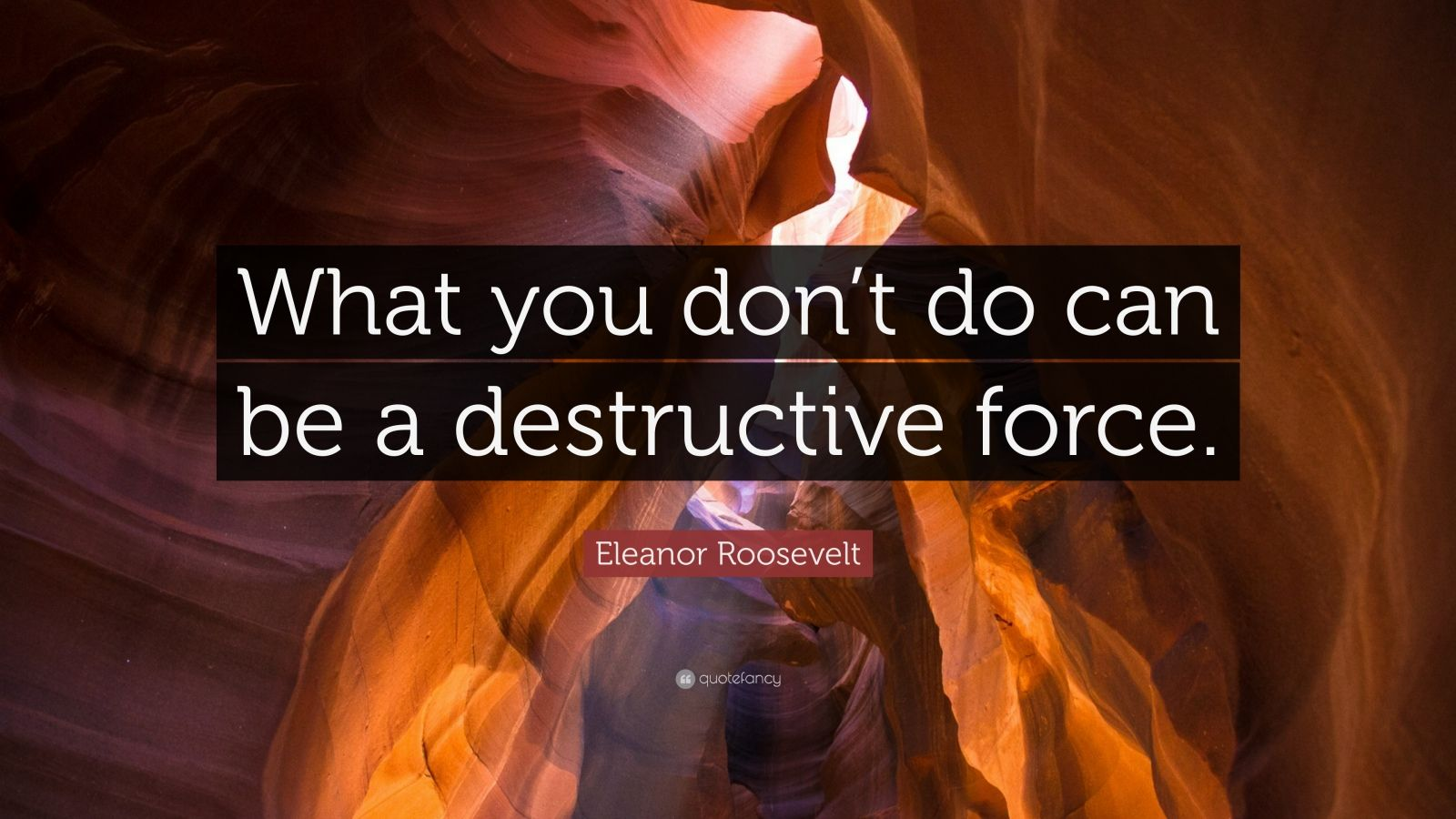 """Eleanor Roosevelt Quote: """"What you don't do can be a destructive force."""""""