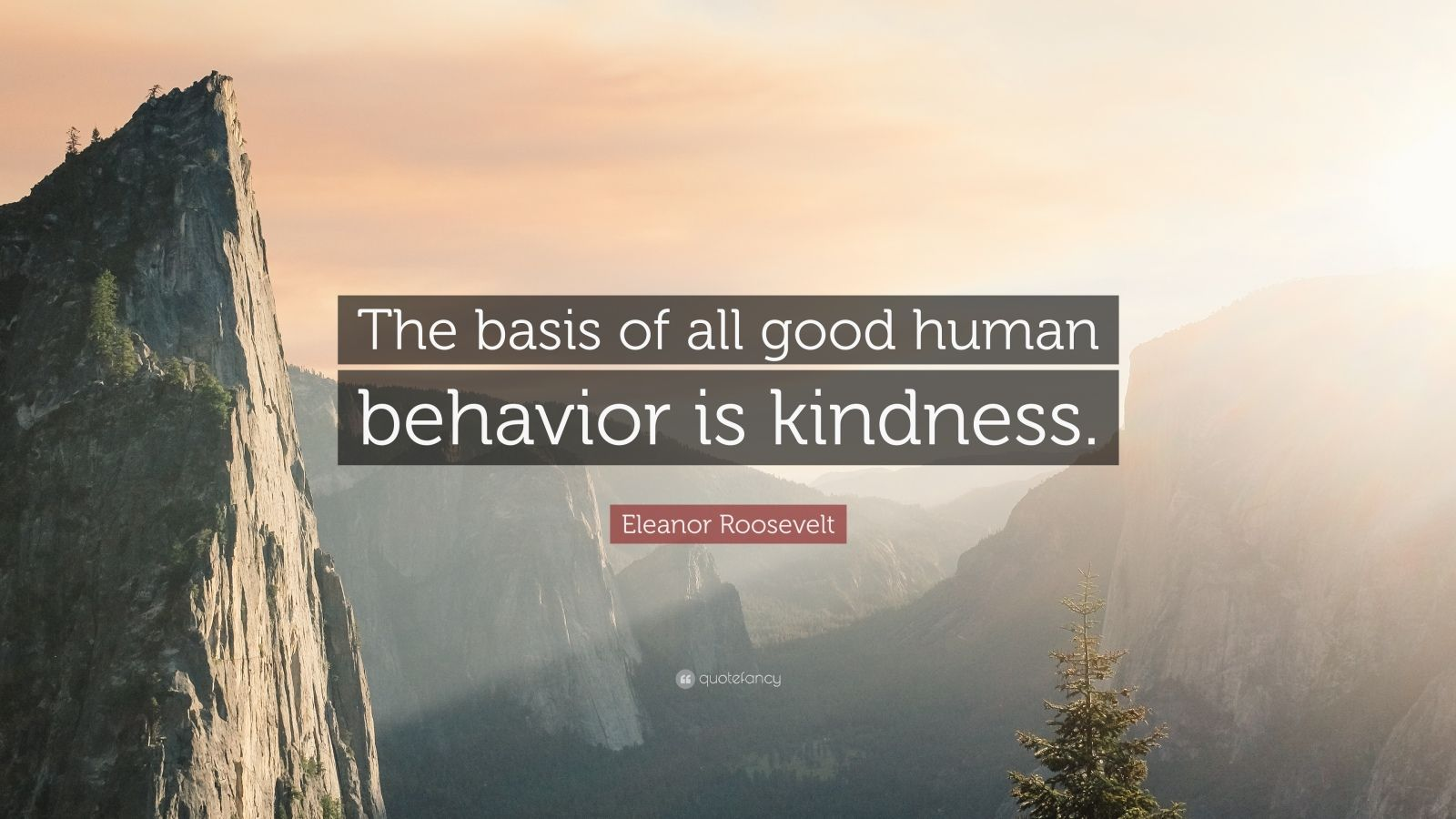 """Eleanor Roosevelt Quote: """"The basis of all good human behavior is kindness."""""""