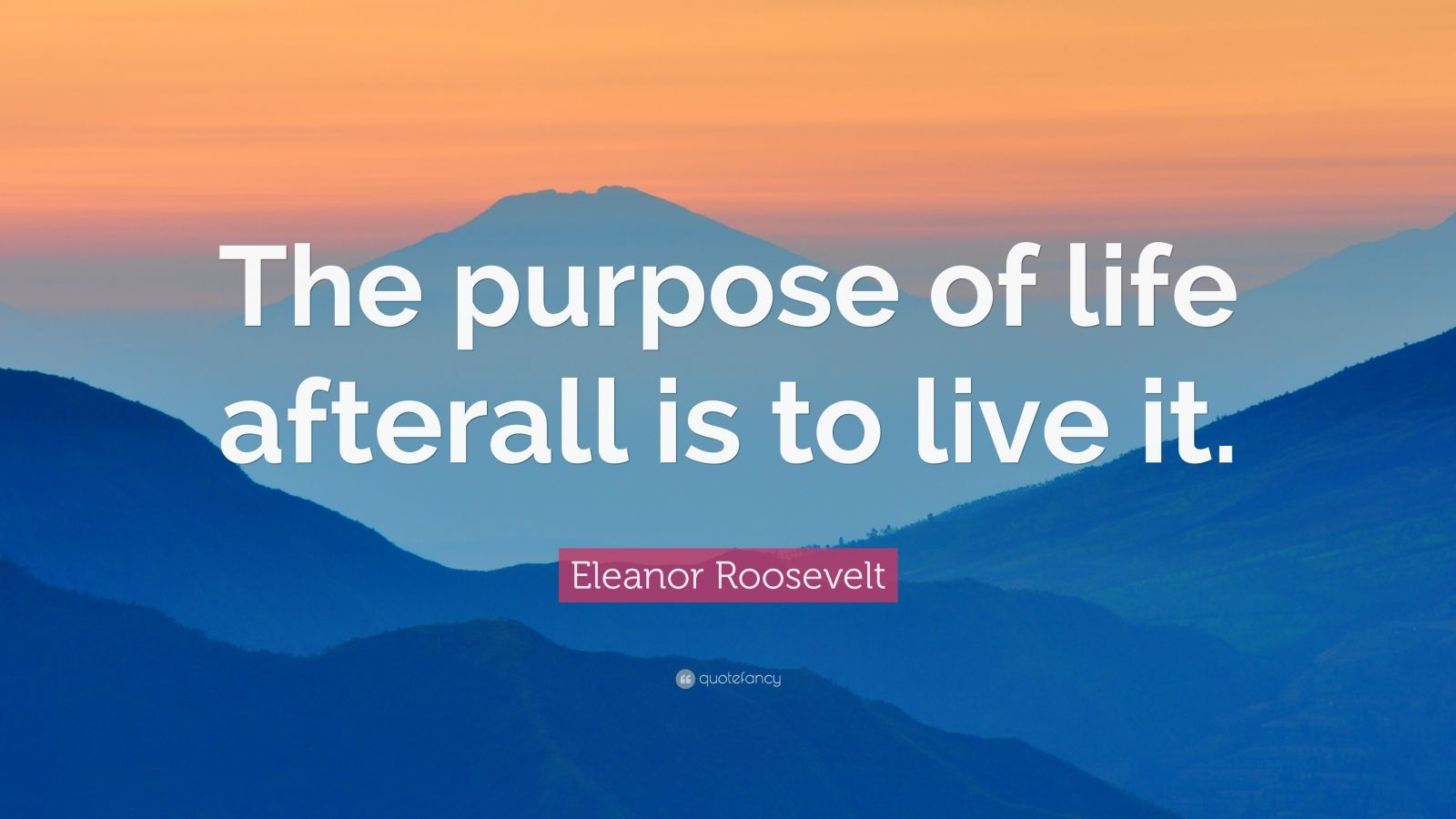 "Eleanor Roosevelt Quote: ""The purpose of life afterall is to live it."""
