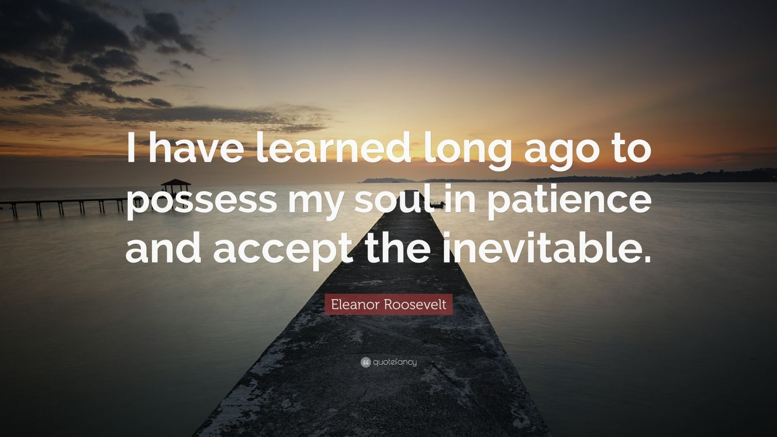 """Eleanor Roosevelt Quote: """"I have learned long ago to possess my soul in patience and accept the inevitable."""""""