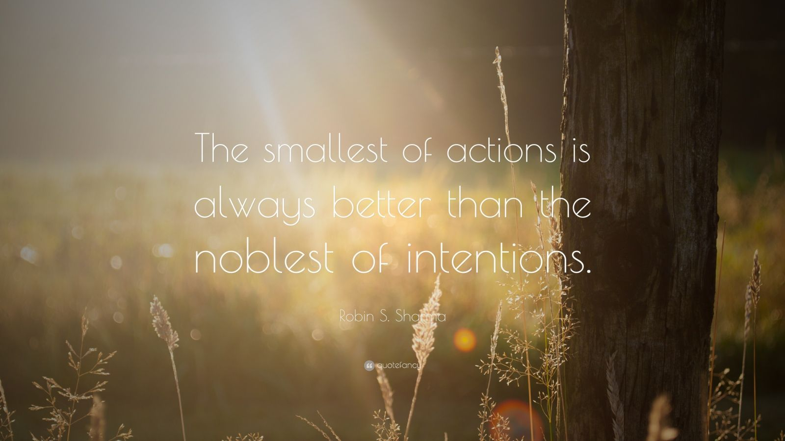 "Robin S. Sharma Quote: ""The smallest of actions is always better than the noblest of intentions."""